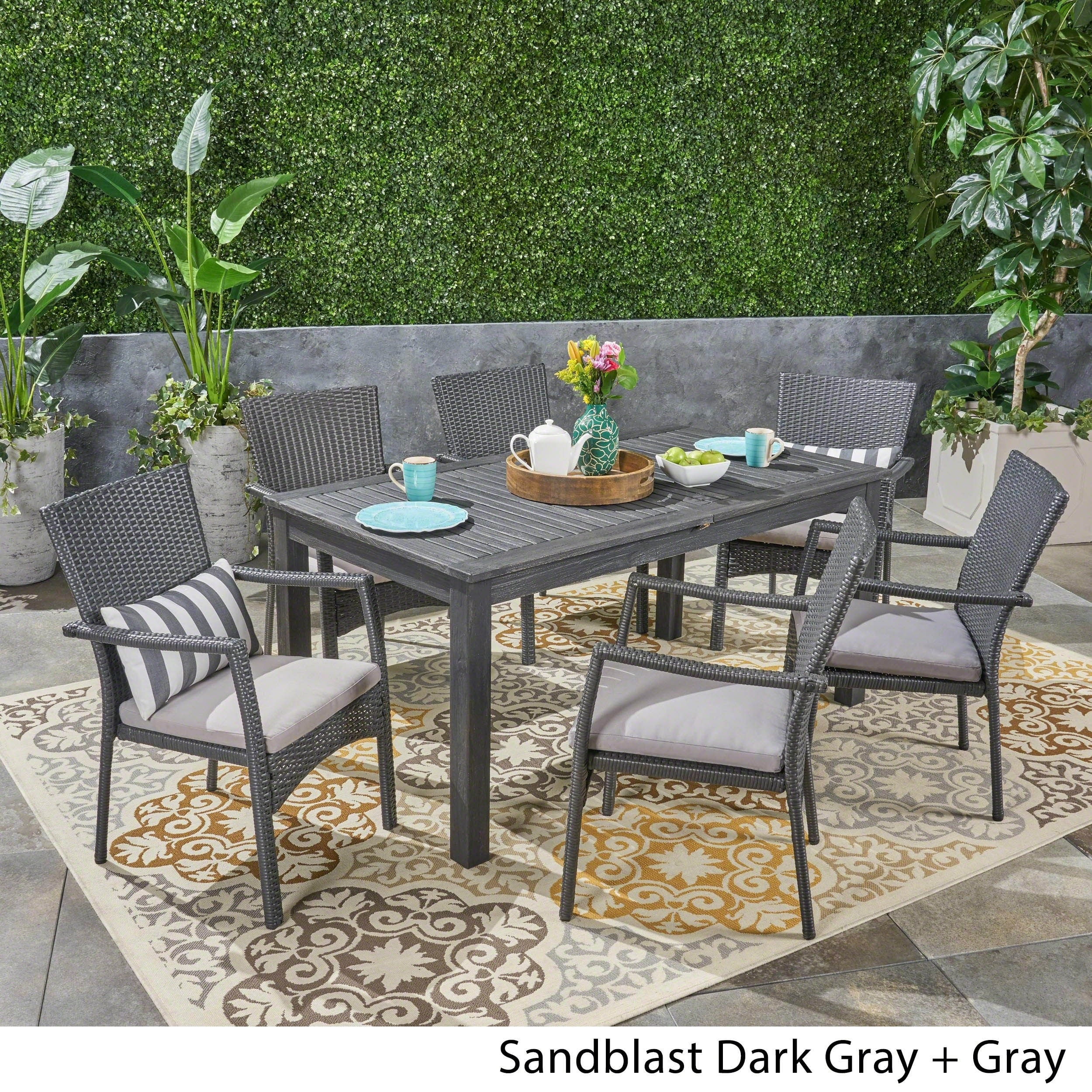 Davenport Patio Furniture.Davenport Outdoor 7 Piece Wood And Wicker Expandable Dining Set By Christopher Knight Home