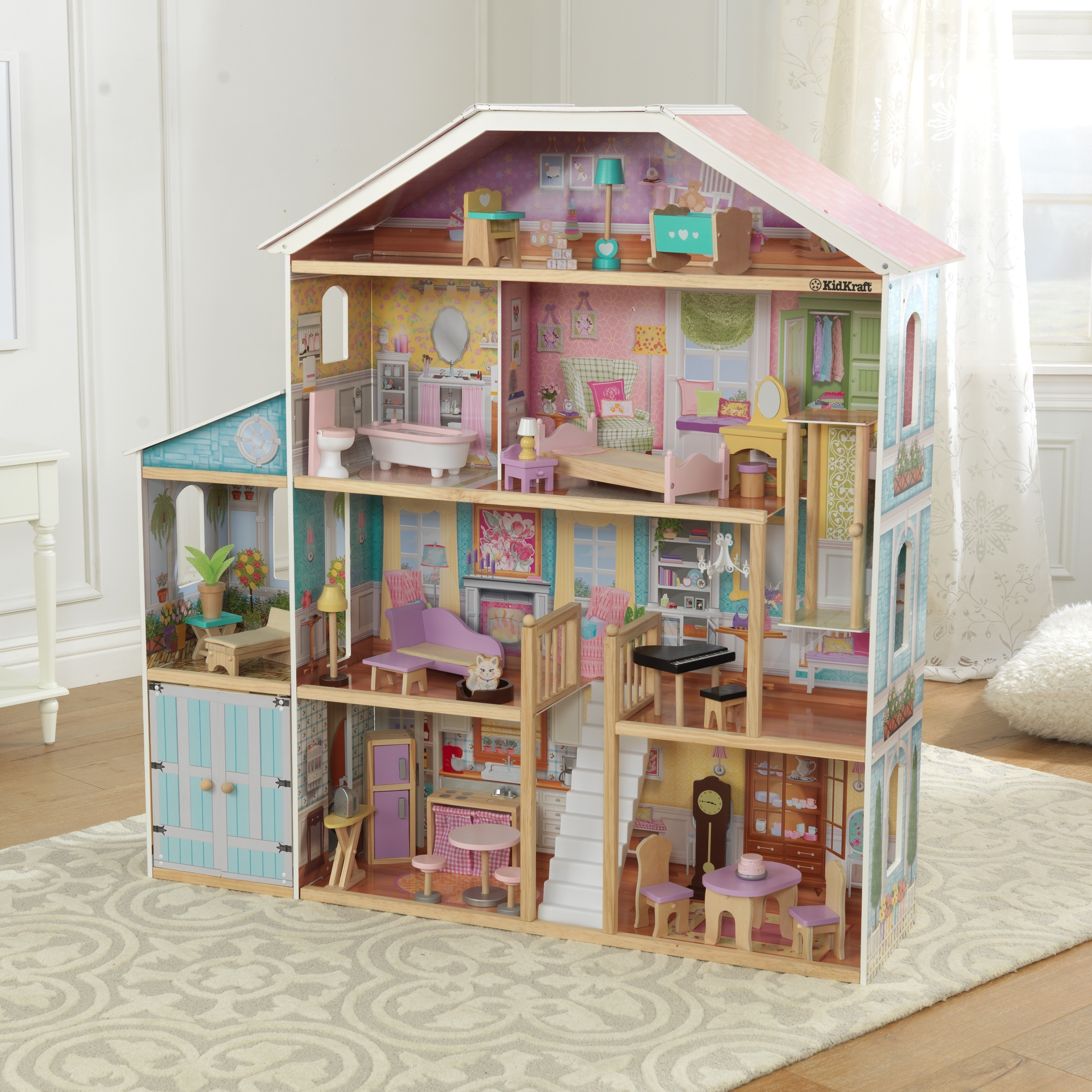 Shop Kidkraft Grand View Mansion Dollhouse With Ez Kraft Assembly