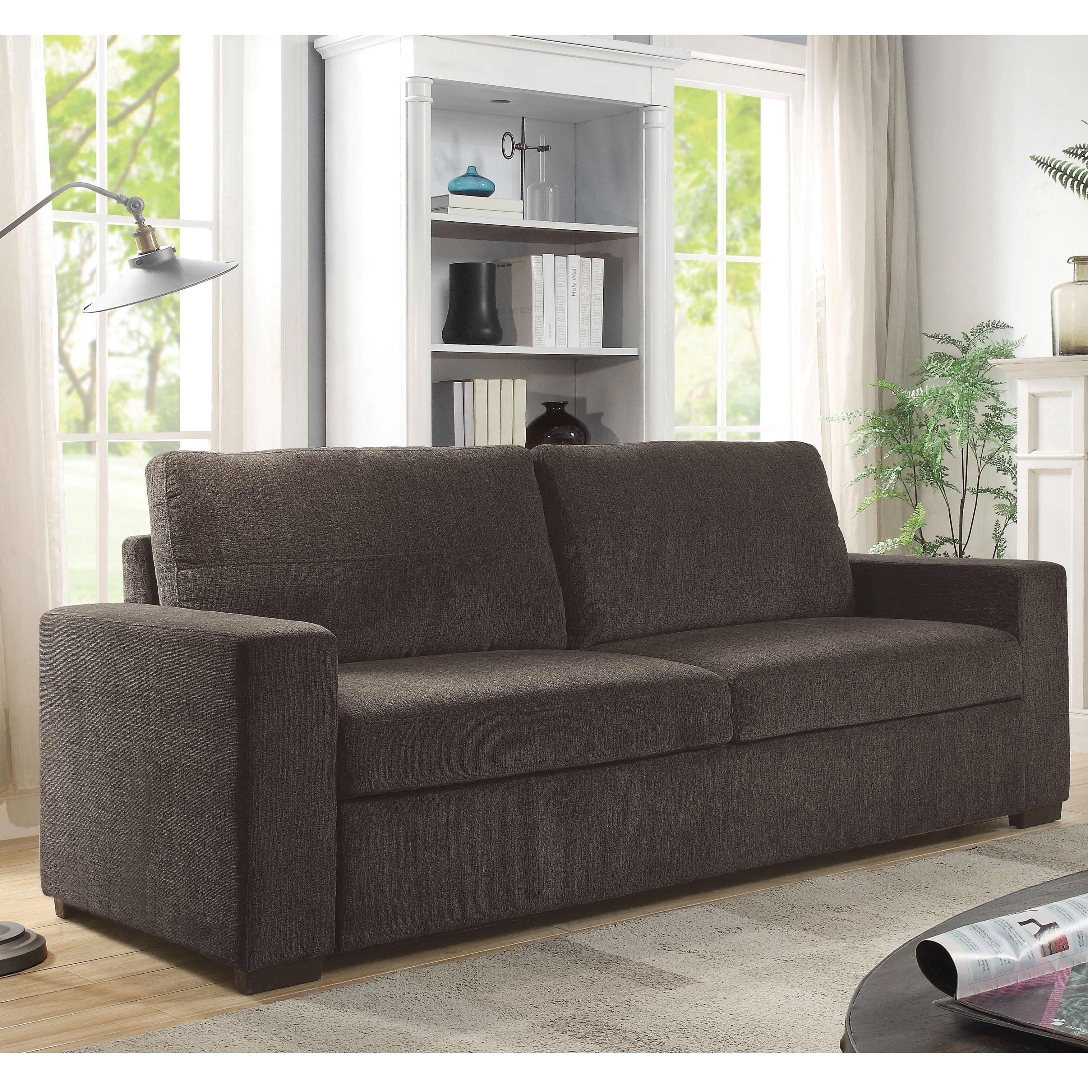 Furniture of america dane microfiber brown chenille sofa bed sleeper
