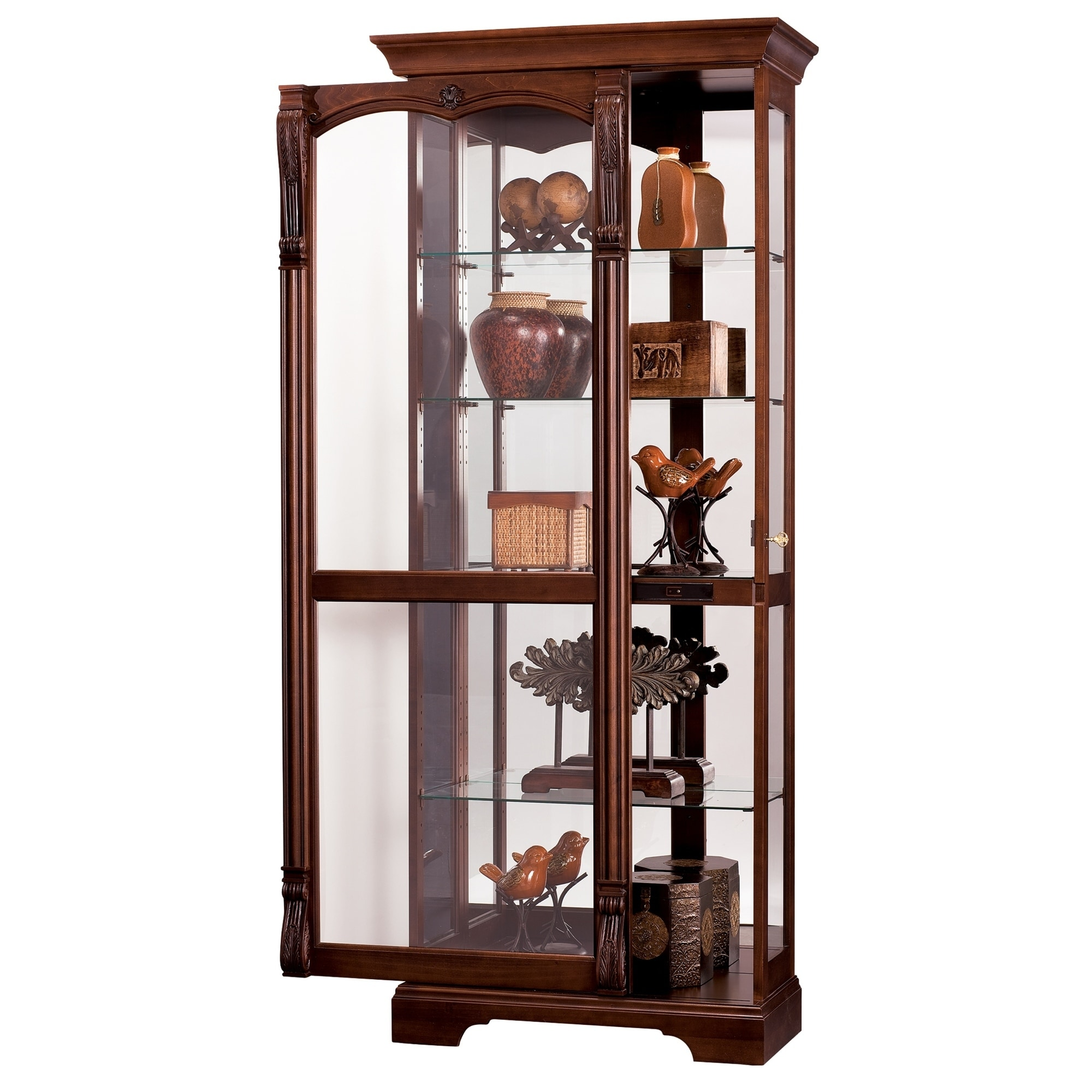 Shop Howard Miller Bernadette Cherry Solid Wood Curio Cabinet   Free  Shipping Today   Overstock.com   23449317