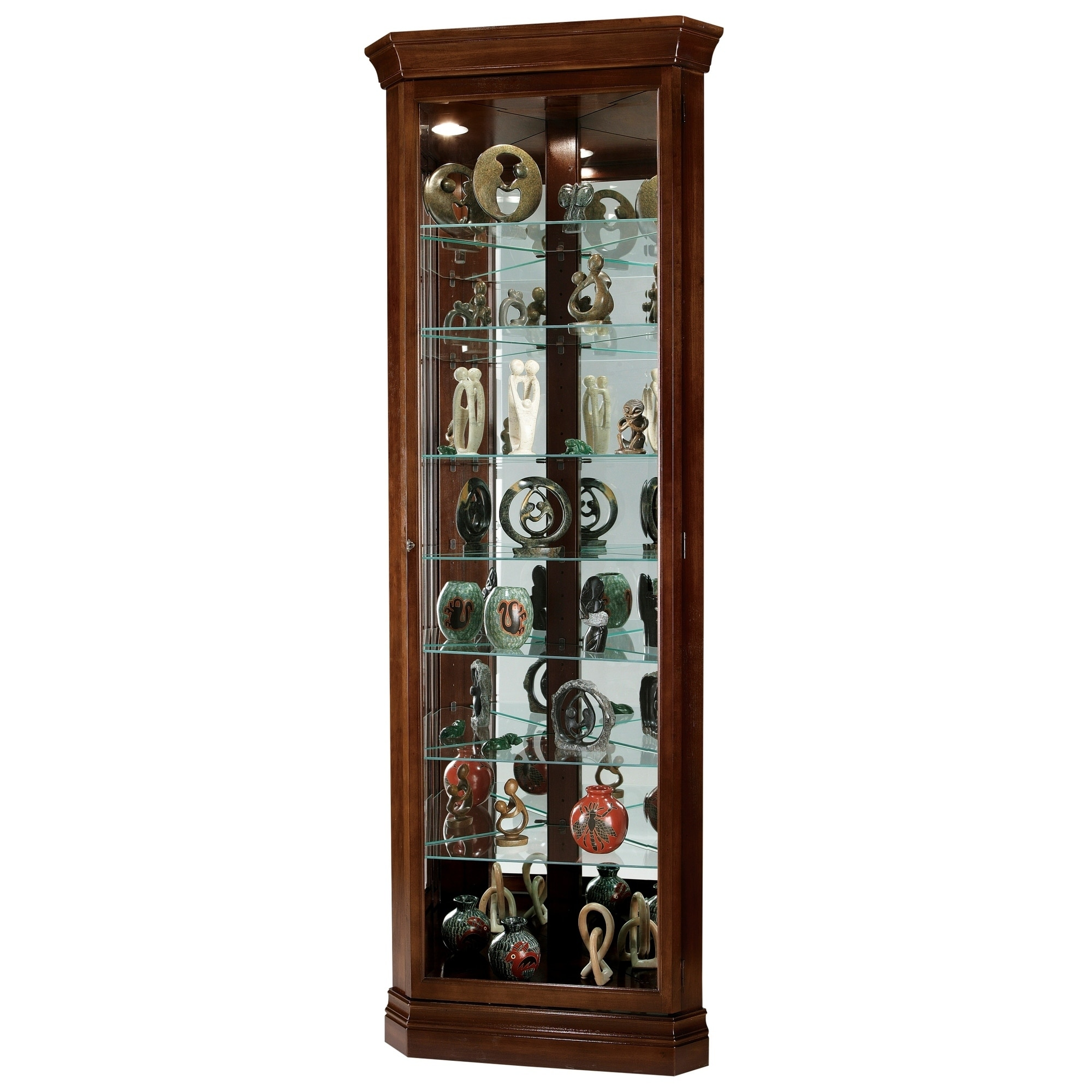Howard Miller Drake Contemporary Medium Brown Wood 8 Shelf Corner Curio Cabinet Free Shipping Today 23449343