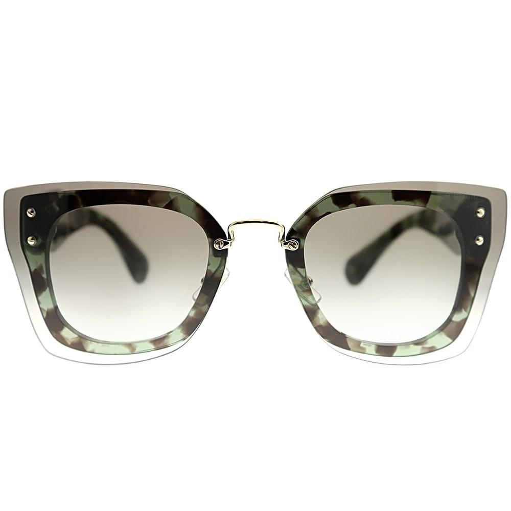 f10d4fd5d41af Shop Miu Miu Cat-Eye MU 04RS UAG0A7 Women Green Havana Frame Grey Gradient Lens  Sunglasses - Free Shipping Today - Overstock - 23461672