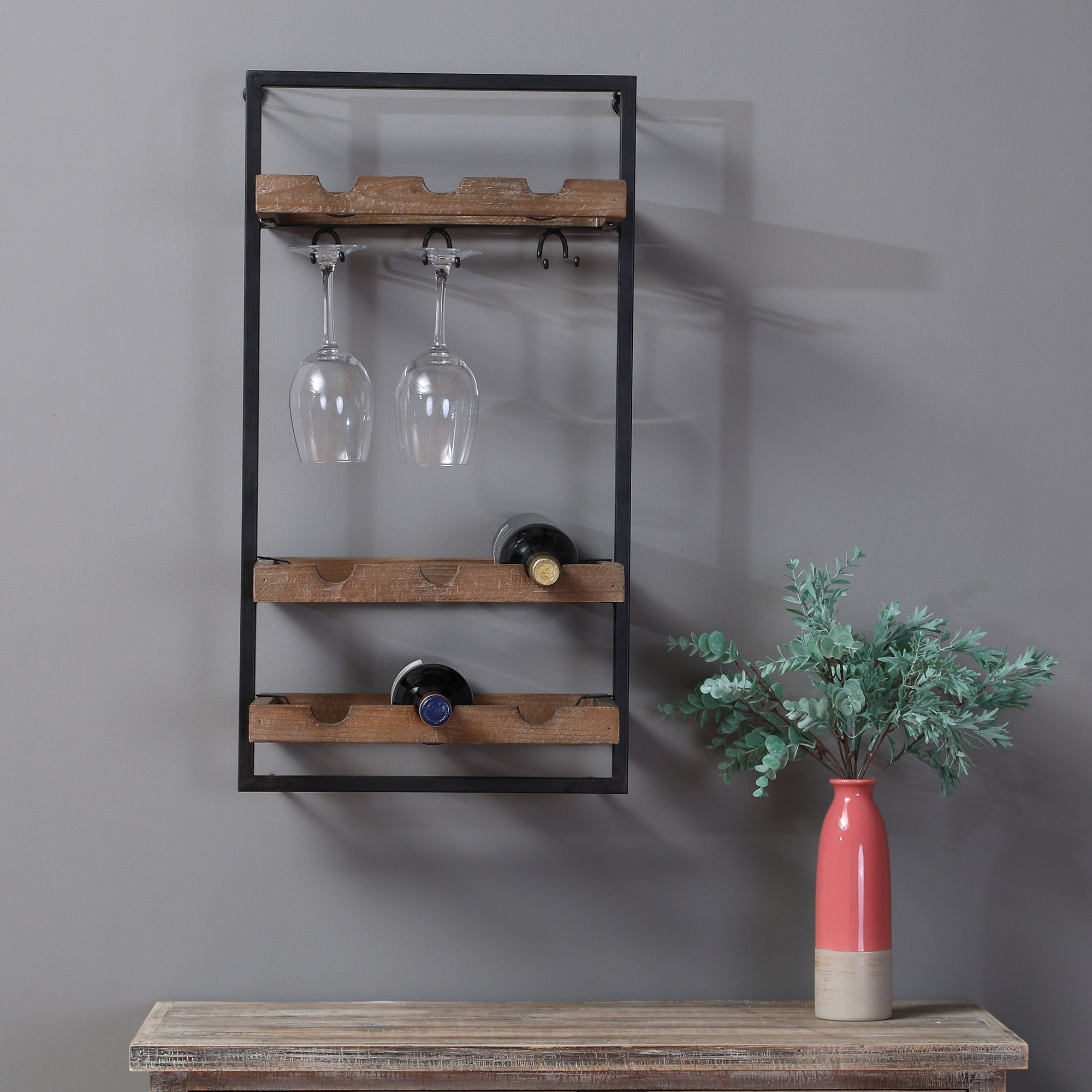 Shop Wall Mounted Wooden Wine Rack On Sale Free Shipping Today