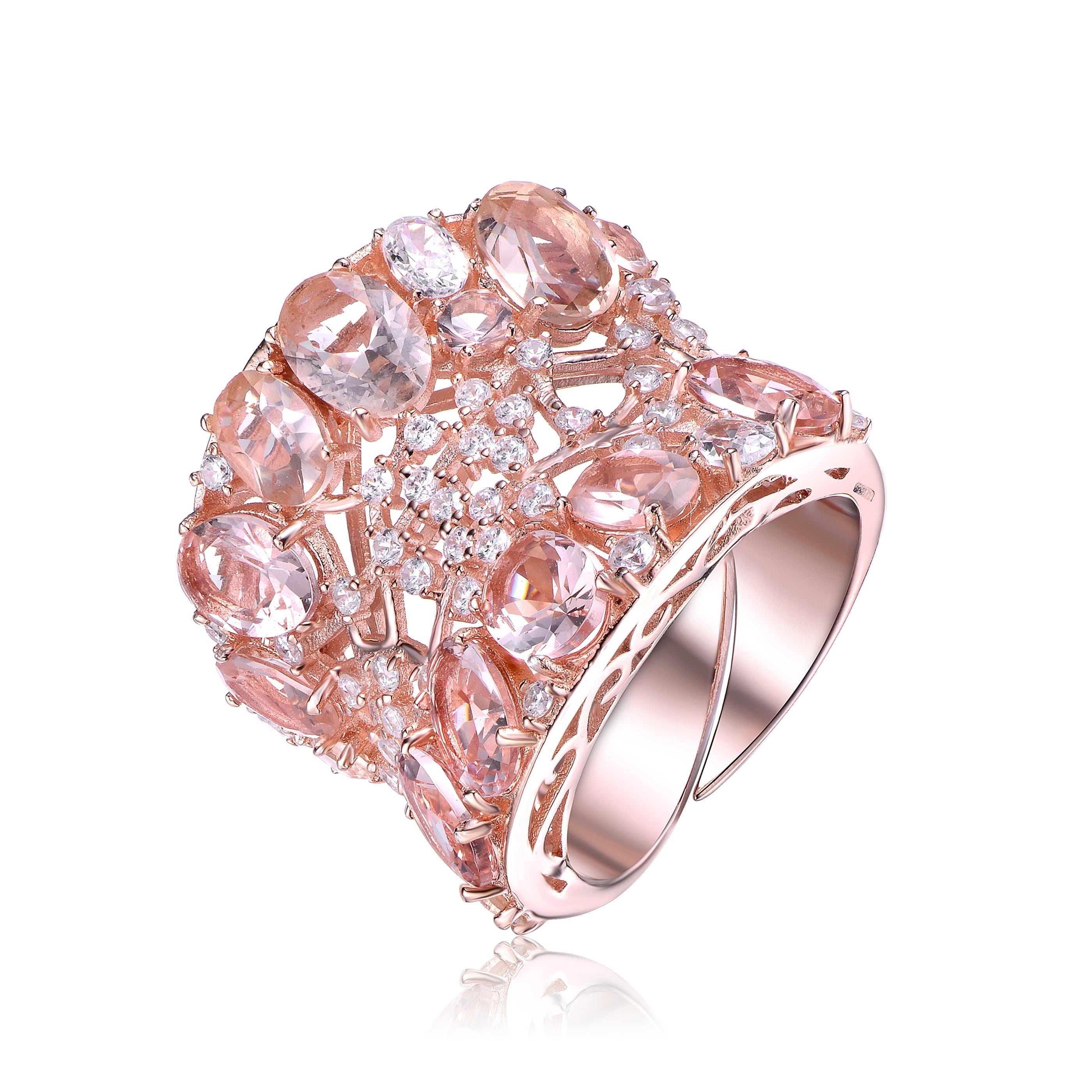 Shop Collette Z Sterling Silver with Rose Gold Plated Morganite Oval ...