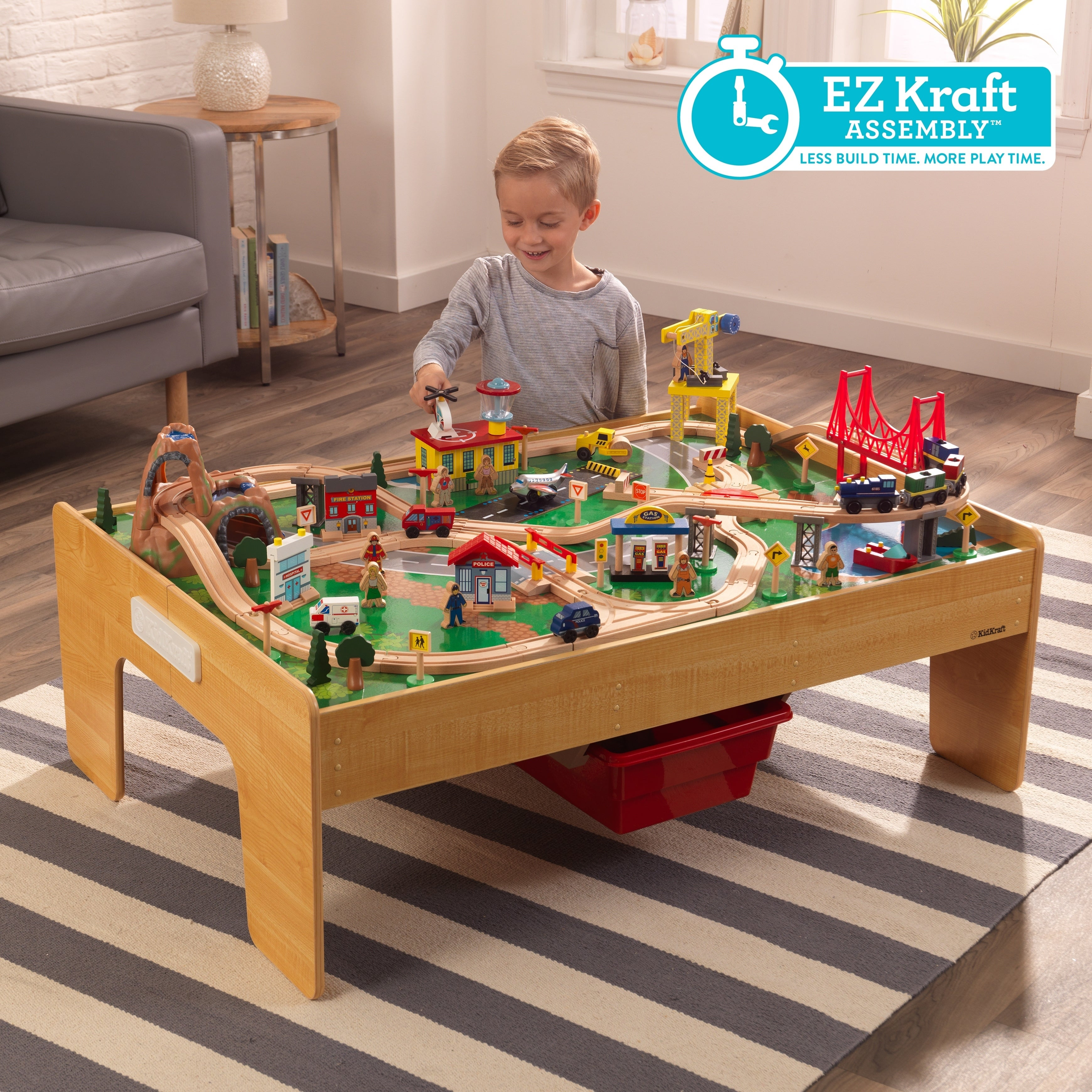 Kidkraft Adventure Town Railway Train Set Table With Ez Kraft Assembly
