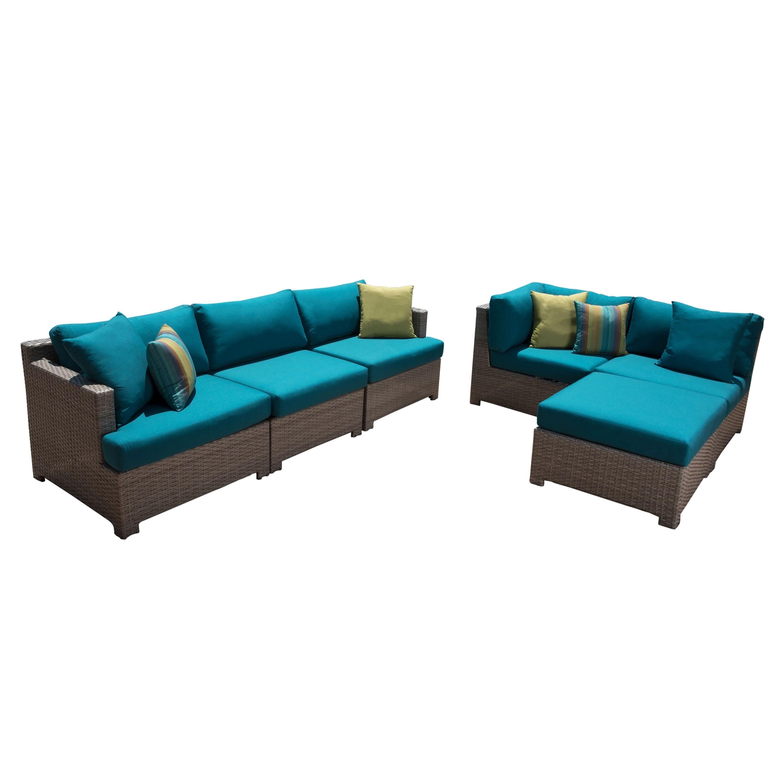 shop abbyson saratoga 6 piece modular seating set teal on sale rh overstock com