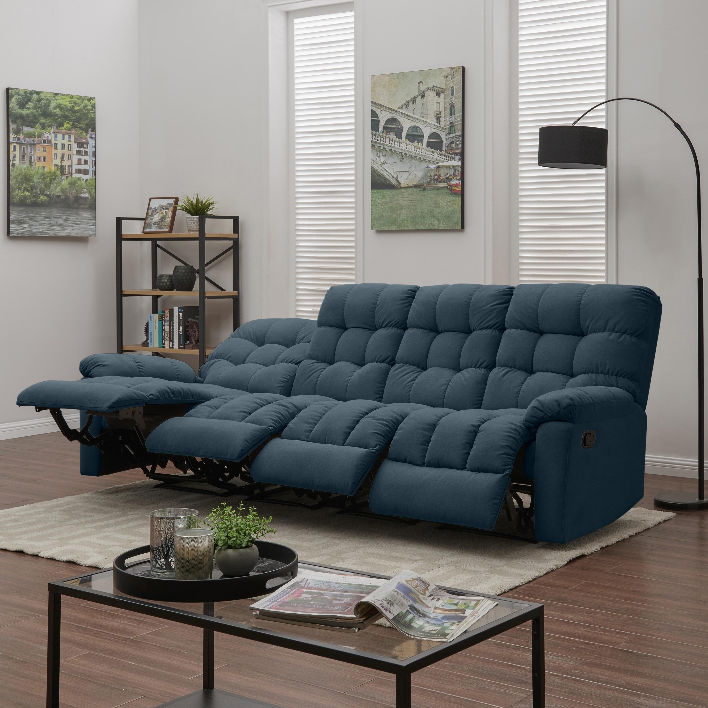 Prolounger medium blue tufted velvet 4 seat recliner sofa