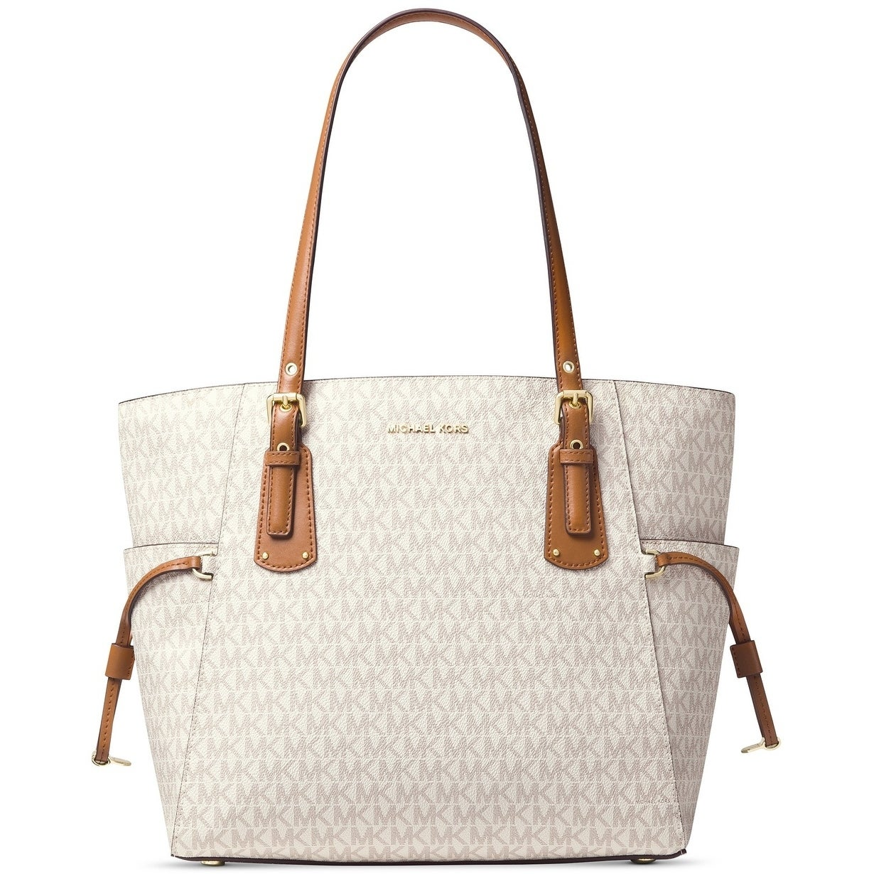 45d8863aa634 Shop MICHAEL Michael Kors Voyager East West Signature Tote Vanilla - Free  Shipping Today - Overstock - 23465873