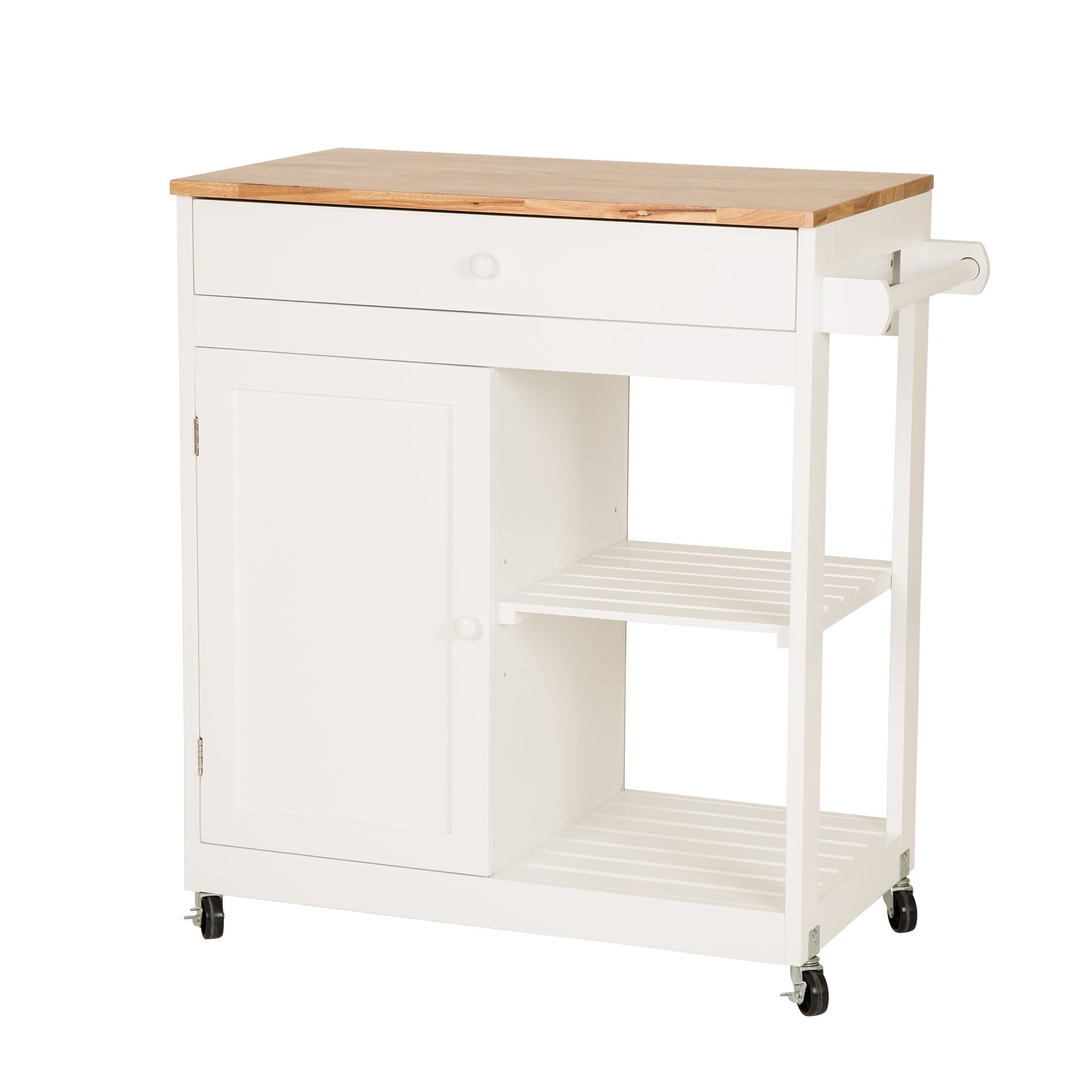 Glitzhome White Kitchen Island Cart With Rubber Wooden Top On Free Shipping Today 23468088
