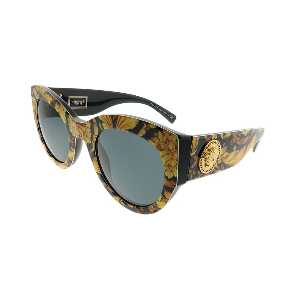 d92e93207af74 Versace Cat-Eye VE 4353 528387 Women Baroque Yellow Black Frame Grey Lens  Sunglasses