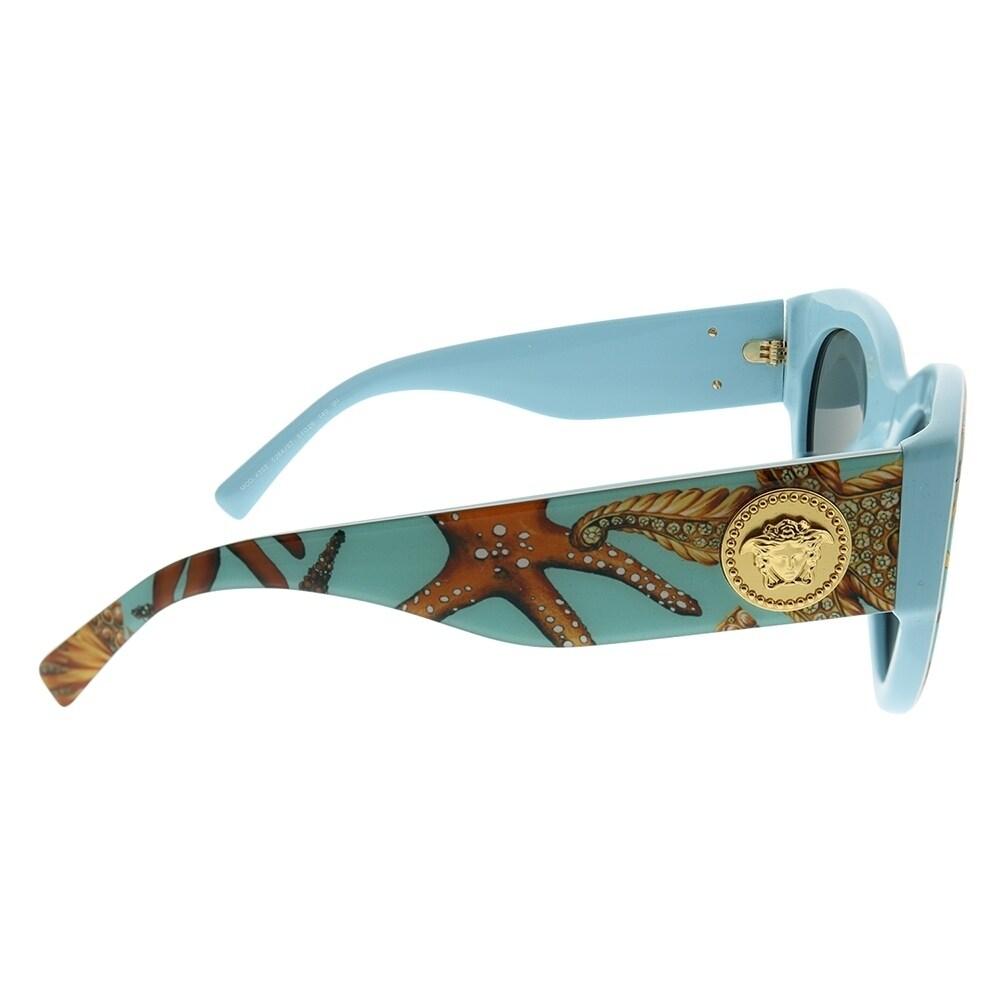 e2b2304a5740b Shop Versace Cat-Eye VE 4353 528487 Women Sea Azure Frame Grey Lens  Sunglasses - Free Shipping Today - Overstock - 23468421