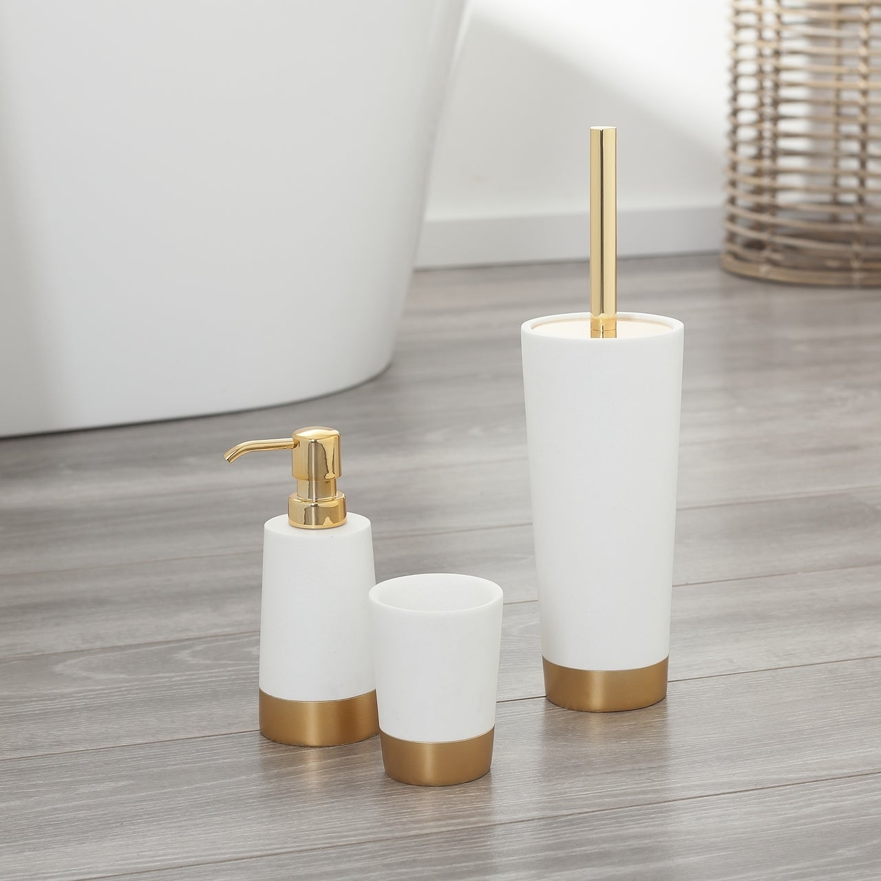 Sealskin 3 Piece Bathroom Accessories Set Glossy White And Gold Polyresin Overstock 23477416