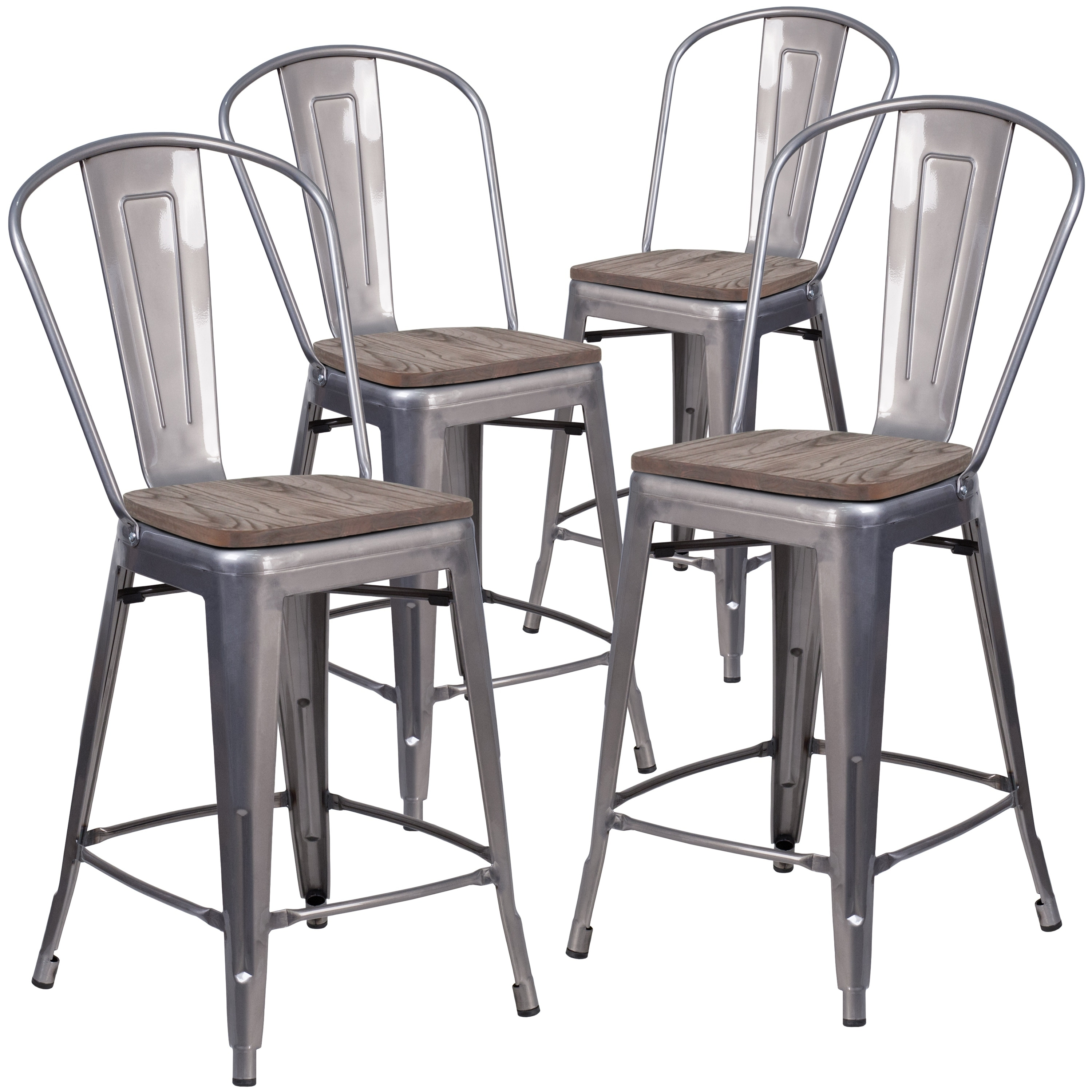 Shop 4 Pk 24 High Counter Height Stool With Back And Wood Seat
