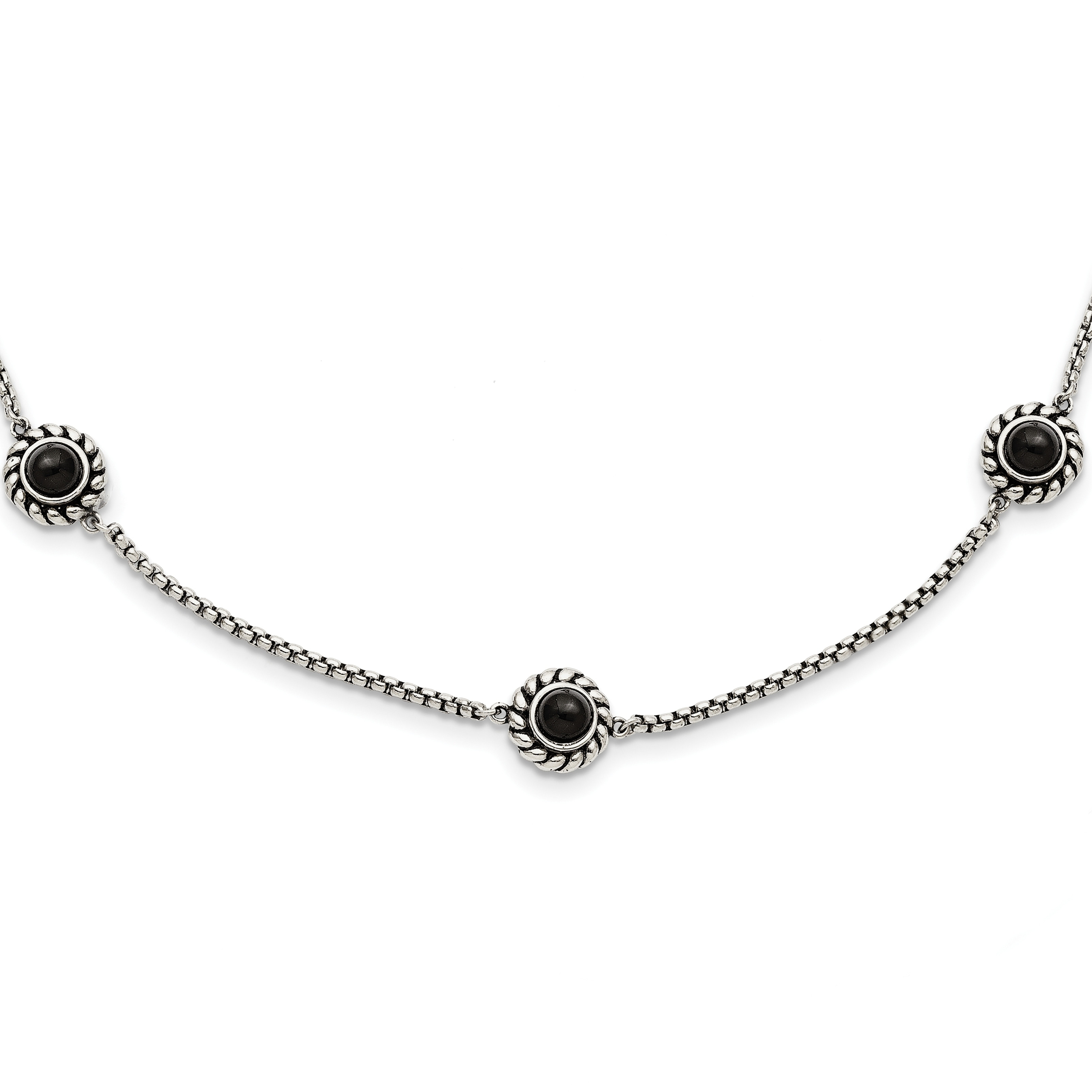 6ff086bf6c53c Chisel Stainless Steel CZ and Black Onyx Reversible with 3.5-inch Extension  Necklace