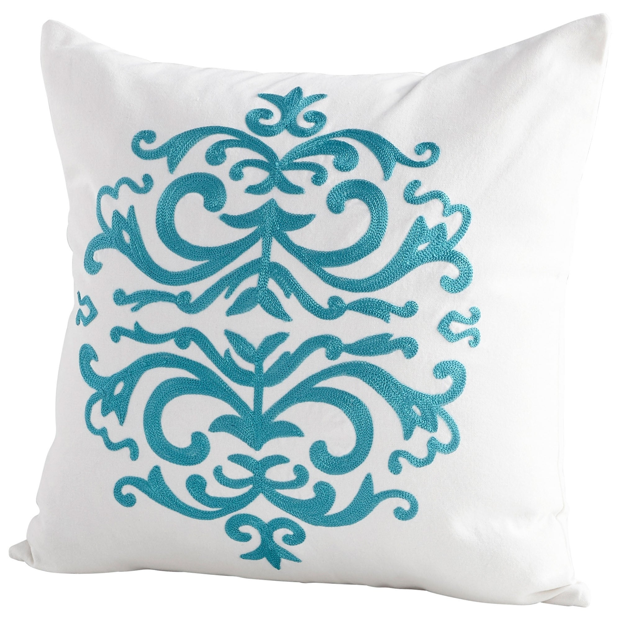 Shop cyan design medallion white cotton handmade accent pillow free shipping today overstock com 23479794