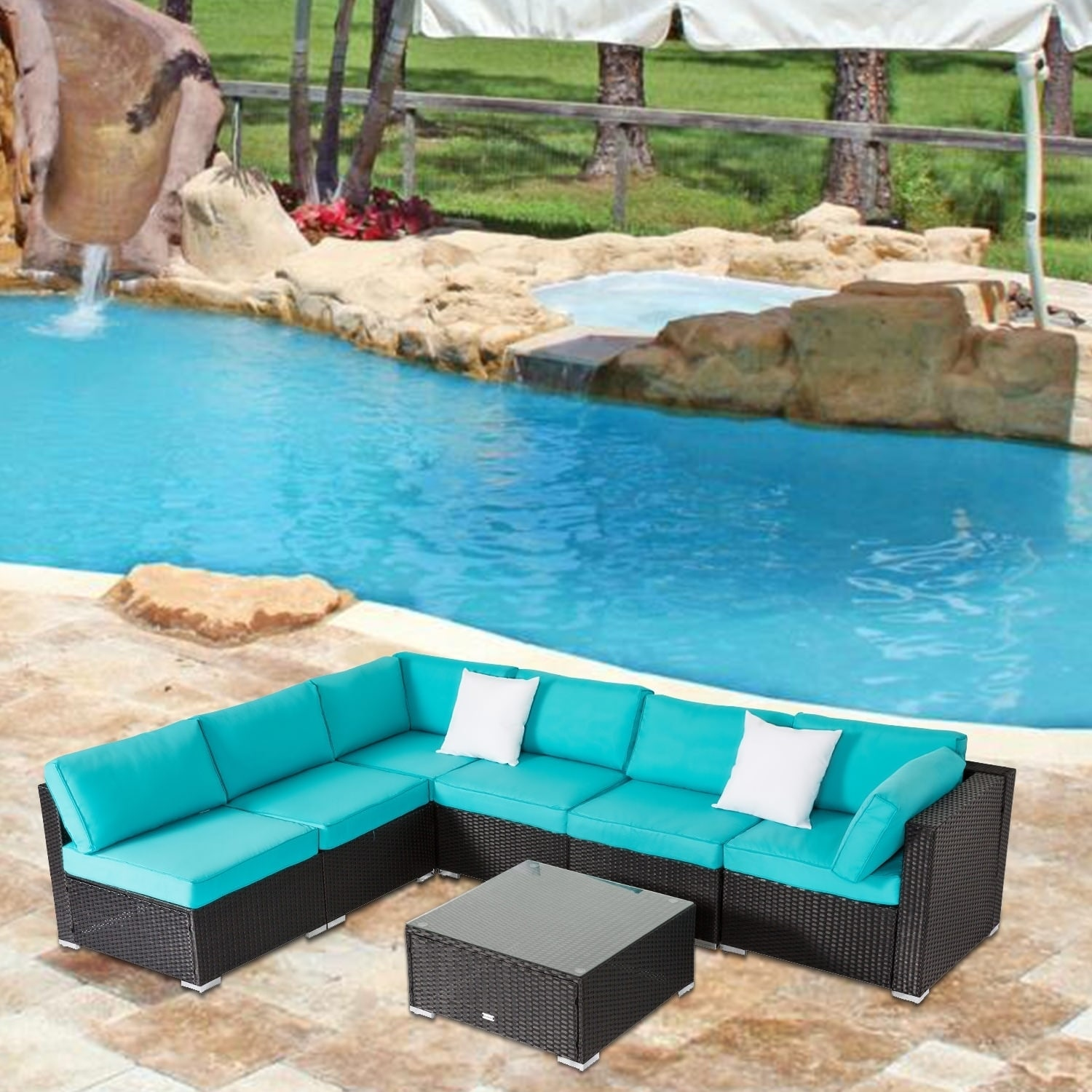 Kinbor 7 piece all weather rattan sectional sofa set patio furniture set cushioned wicker sofa set