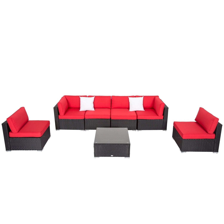 Kinbor 7 Piece All Weather Rattan Sectional Sofa Set Patio Furniture Cushioned Wicker