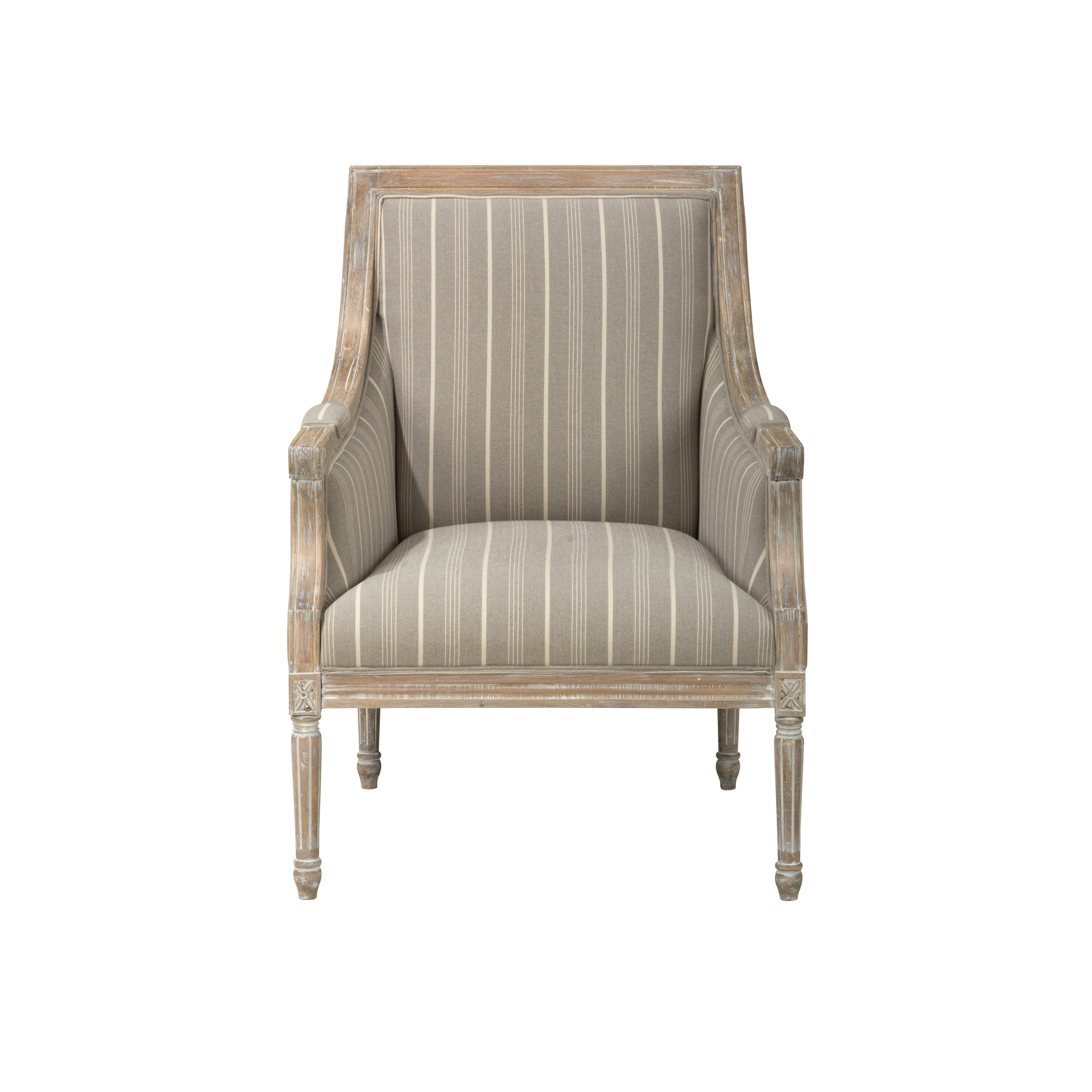 Shop distressed wooden frame accent chair with fabric upholstery taupe gray and brown on sale free shipping today overstock com 23500556