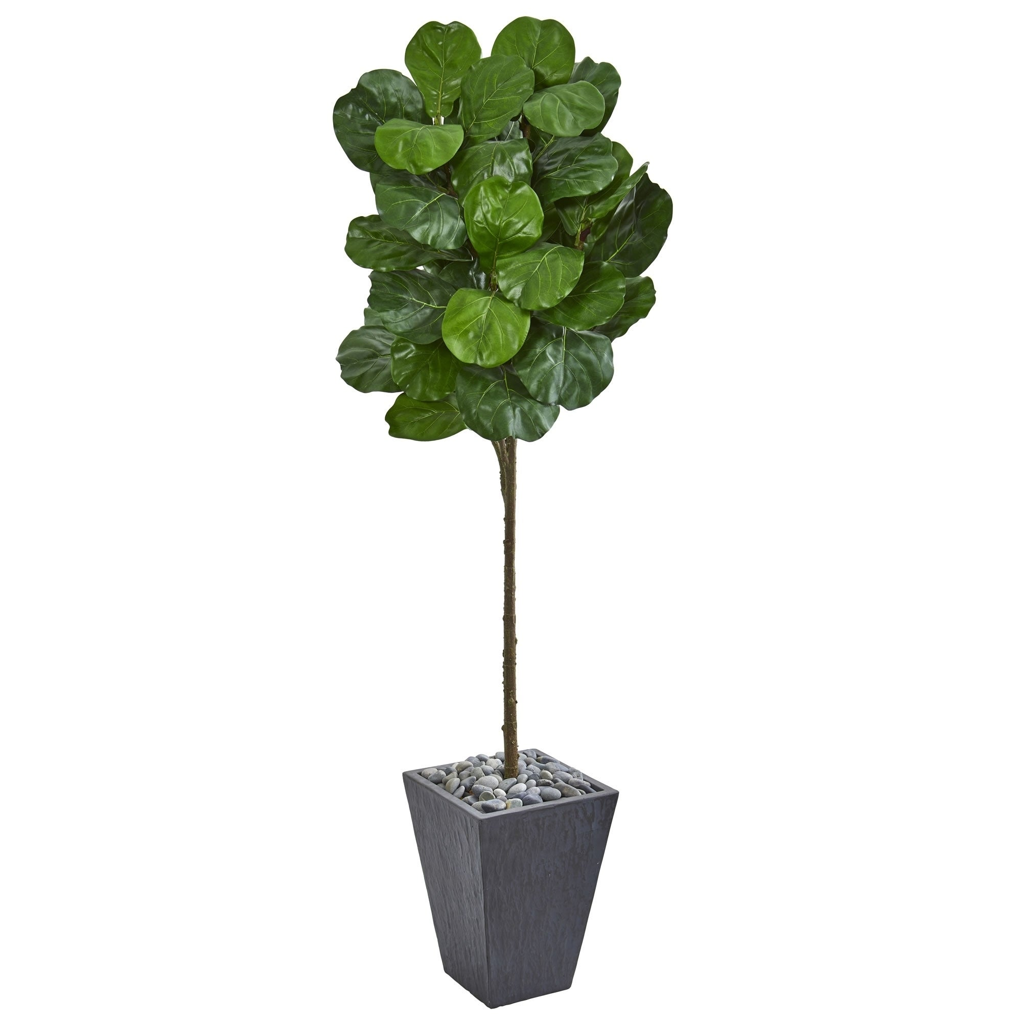 Shop Nearly Natural Fiddle Leaf 6 Foot Artificial Tree In Slate
