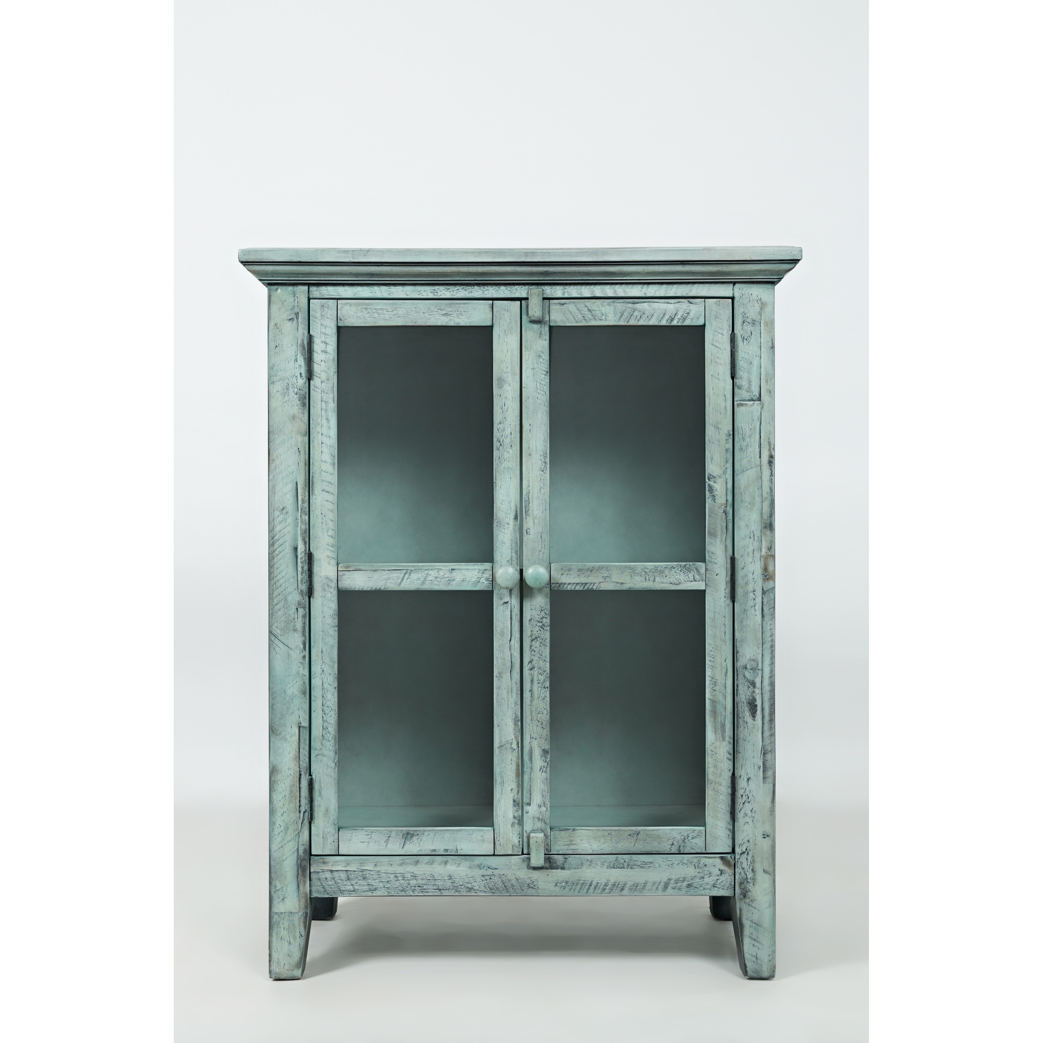 Shop wood accent cabinet with 2 doors in distressed finish blue free shipping today overstock com 23503639