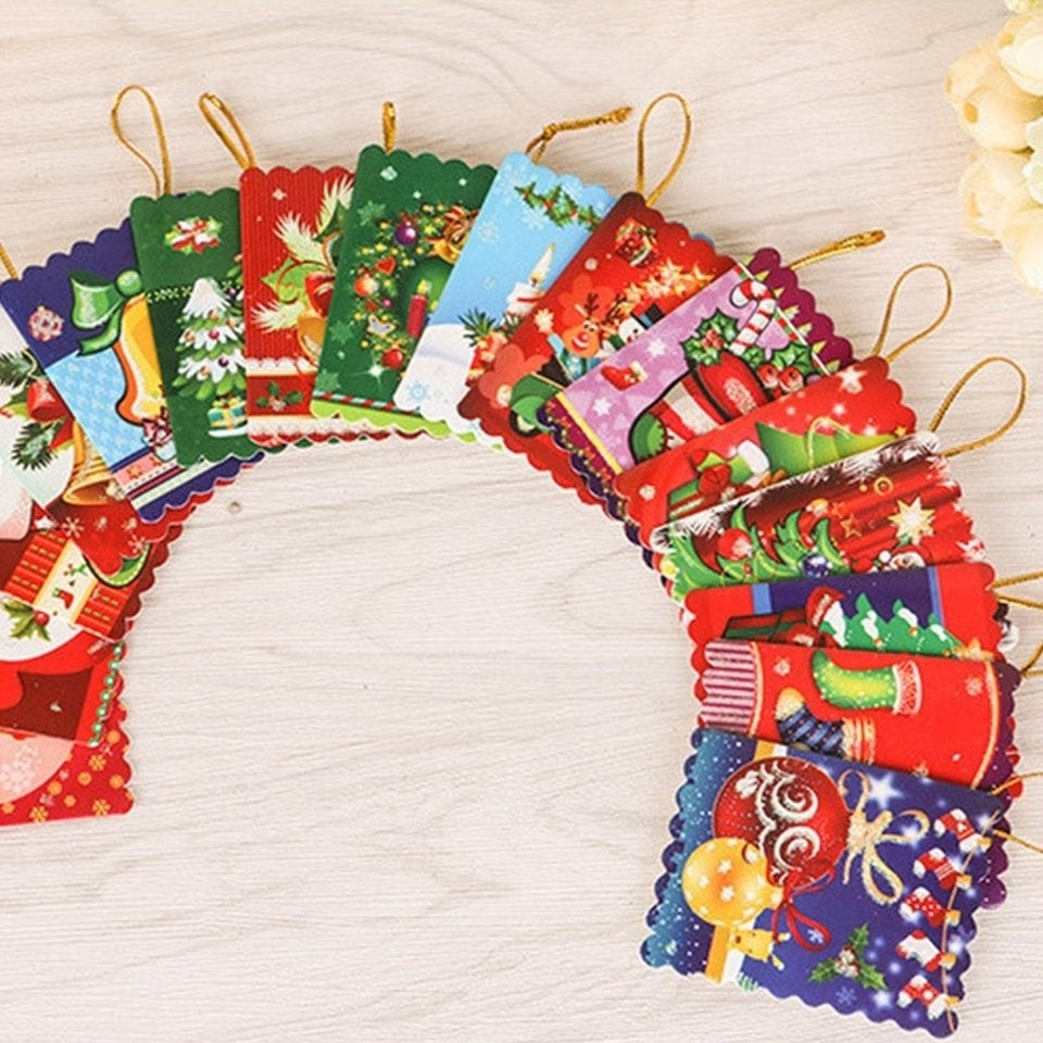 Shop 10pcsbag Unique Christmas Greeting Cards Colorful Pattern