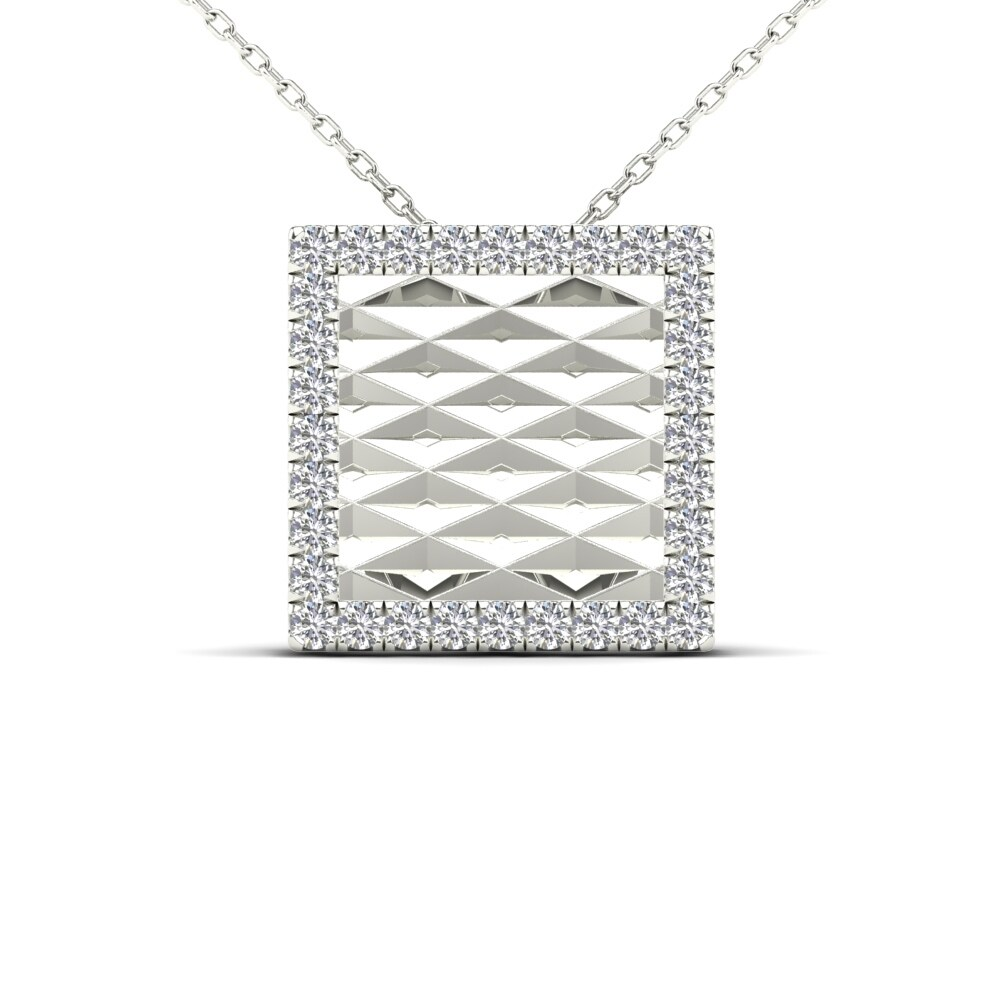 Shop Aalilly 10k White Gold 110ct Tdw Diamond Square Pendant
