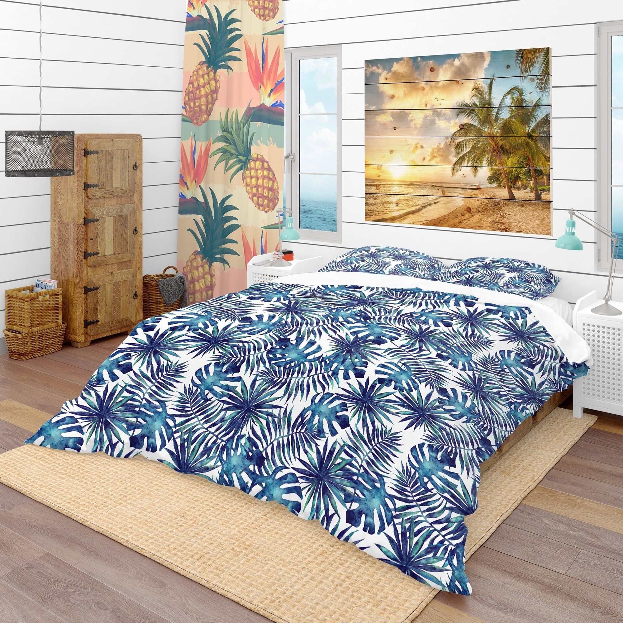 Shop designart leaves and brunches of tropical plants tropical duvet cover set on sale free shipping today overstock com 23506354