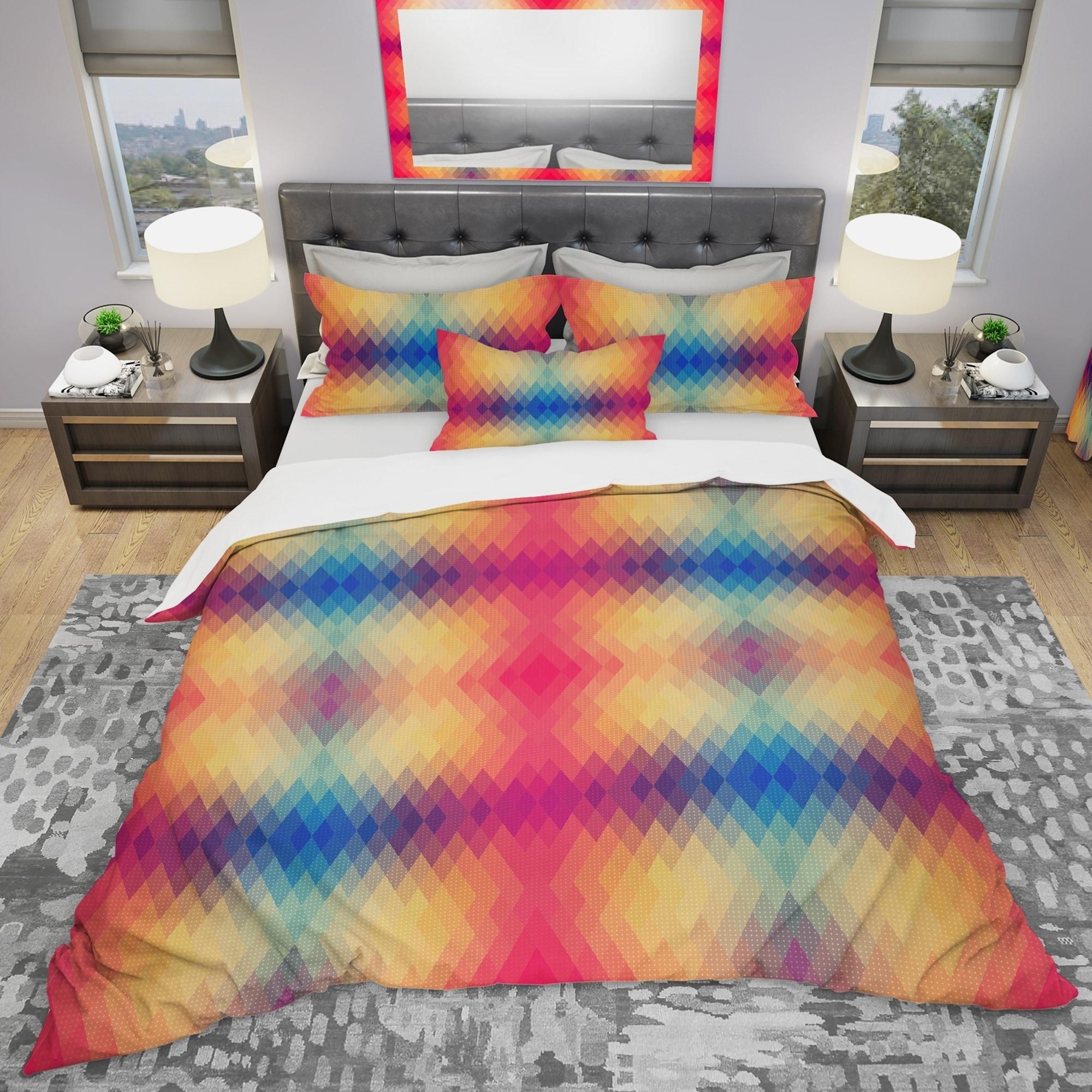 Shop Designart Multicolor Geometric Pattern Modern Bedding Set