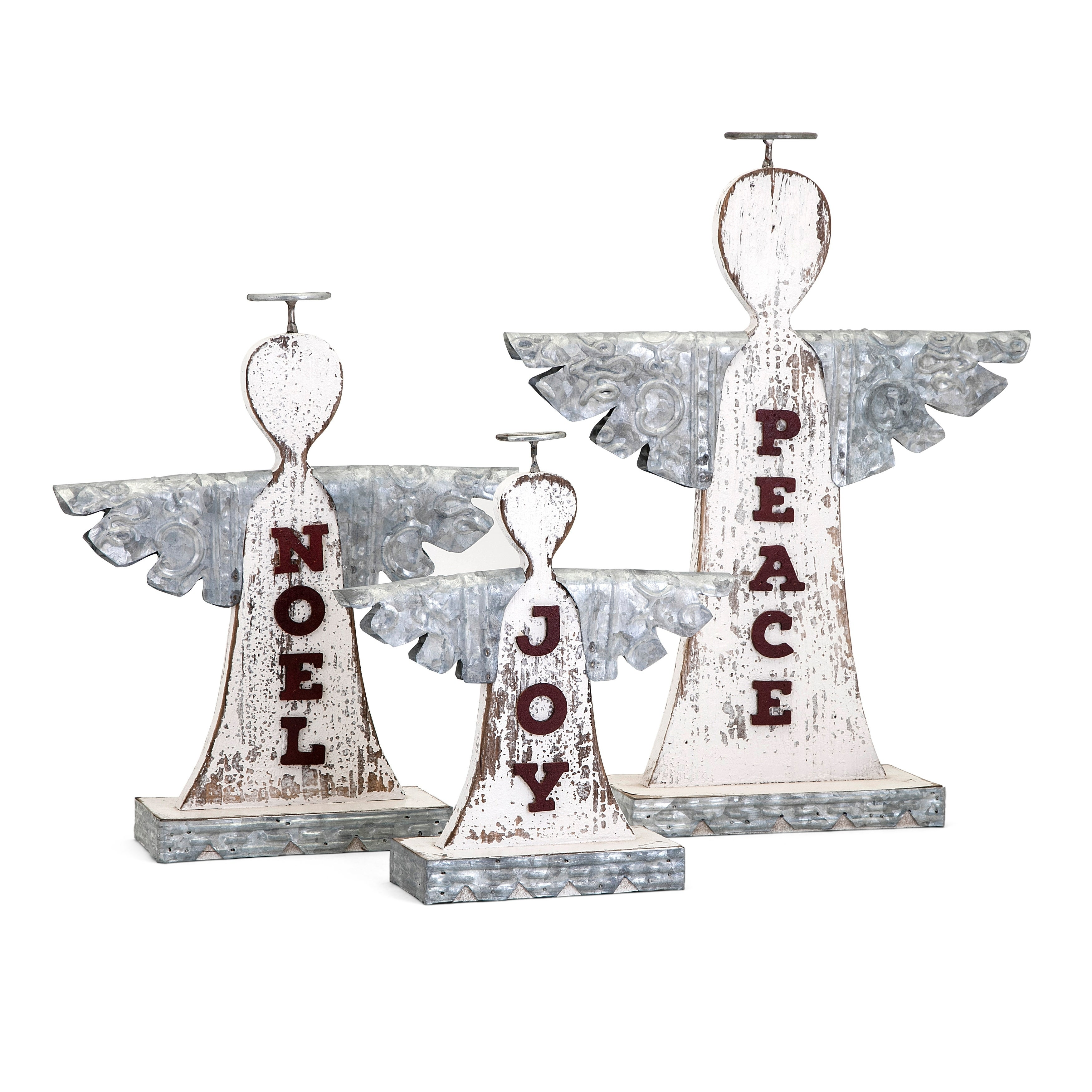 Shop Homestead White and Grey Christmas Angels (Set of 3) - On Sale ...