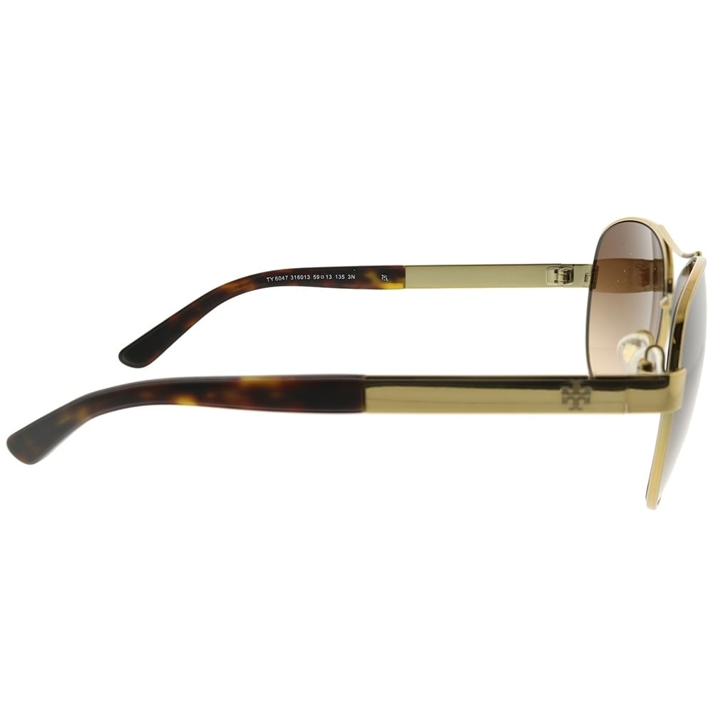 a7e6338b0f9 Shop Tory Burch Aviator TY 6047 316013 Women Gold Frame Brown Gradient Lens  Sunglasses - Free Shipping Today - Overstock.com - 23524546