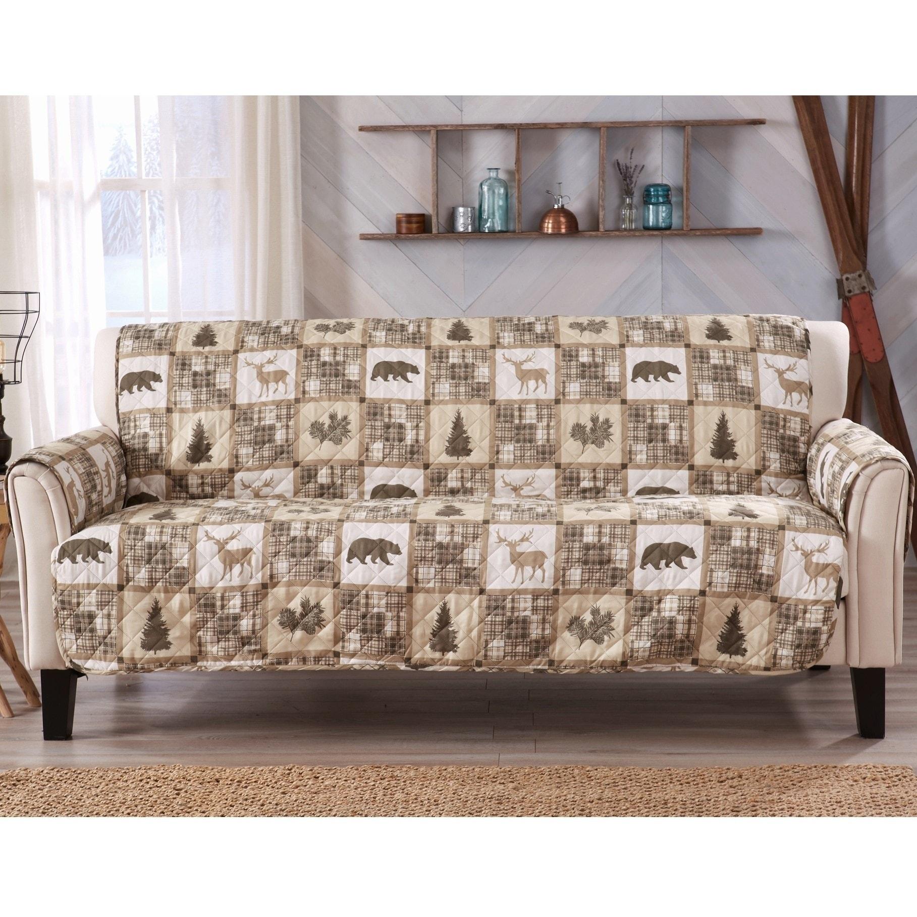 Sofa Saver Lodge Rustic Reversible Stain Resistant Printed Sofa Furniture  Protector