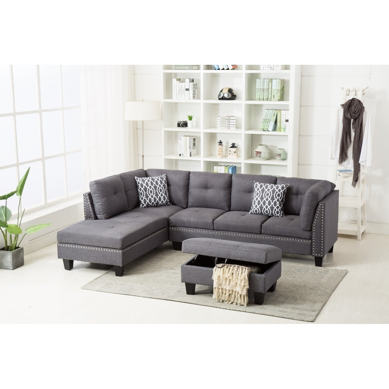 Shop Nail Trim Linen Fabric Sectional Sofa with Storage Ottoman ...