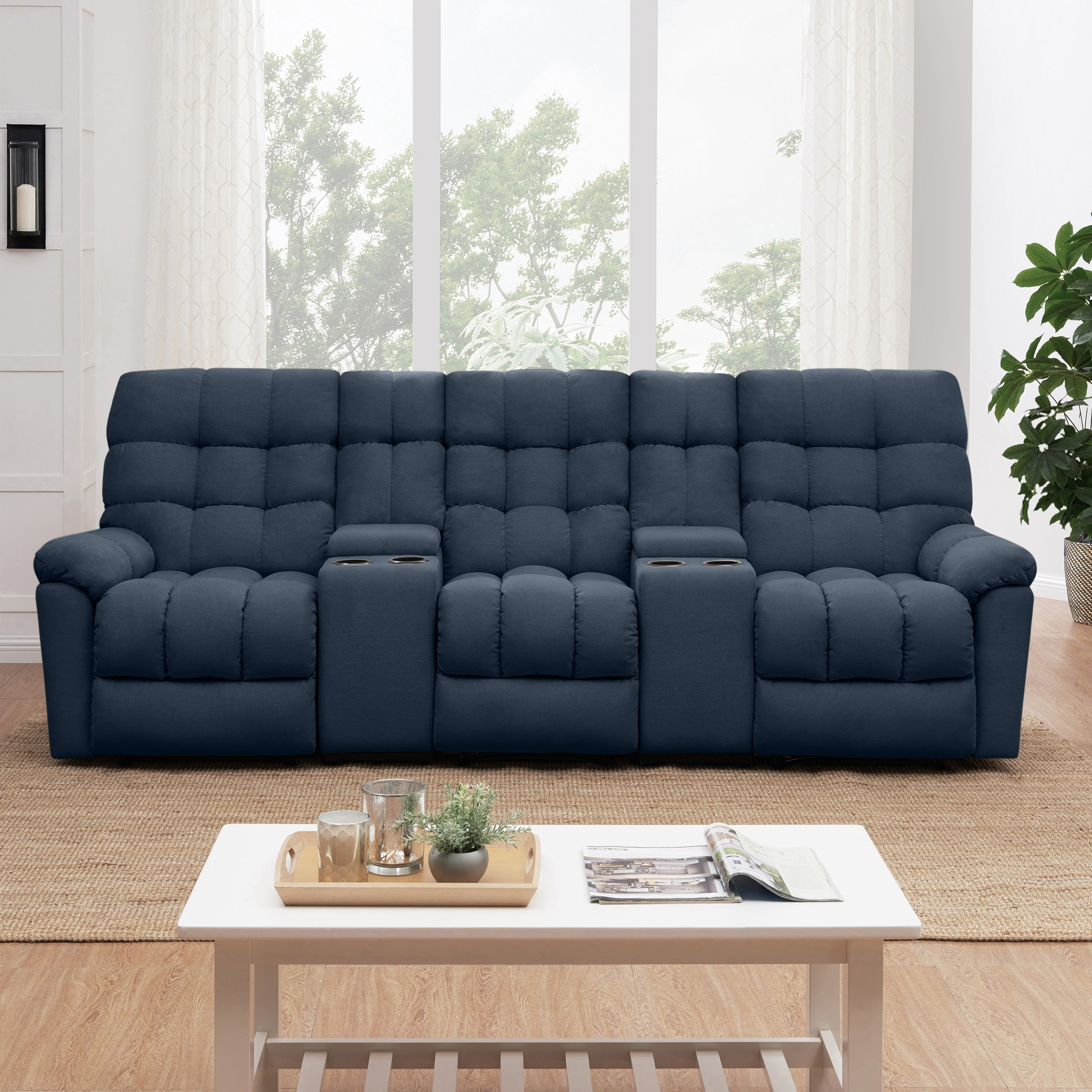 Shop prolounger medium blue tufted velvet 3 seat recliner sofa with power storage console on sale free shipping today overstock com 23527727