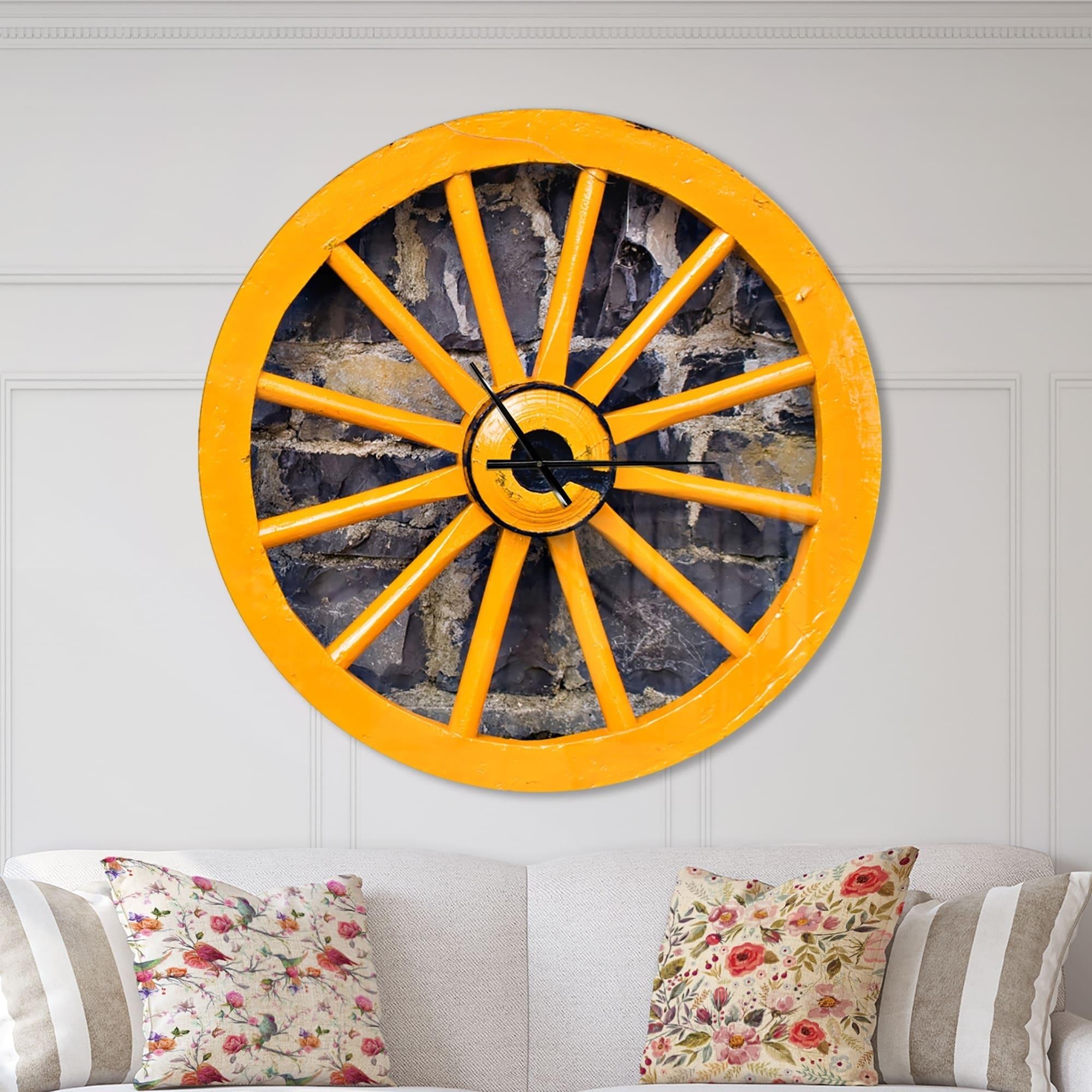 Shop Designart \'Yellow wooden Wagon Wheel Country\' Oversized ...