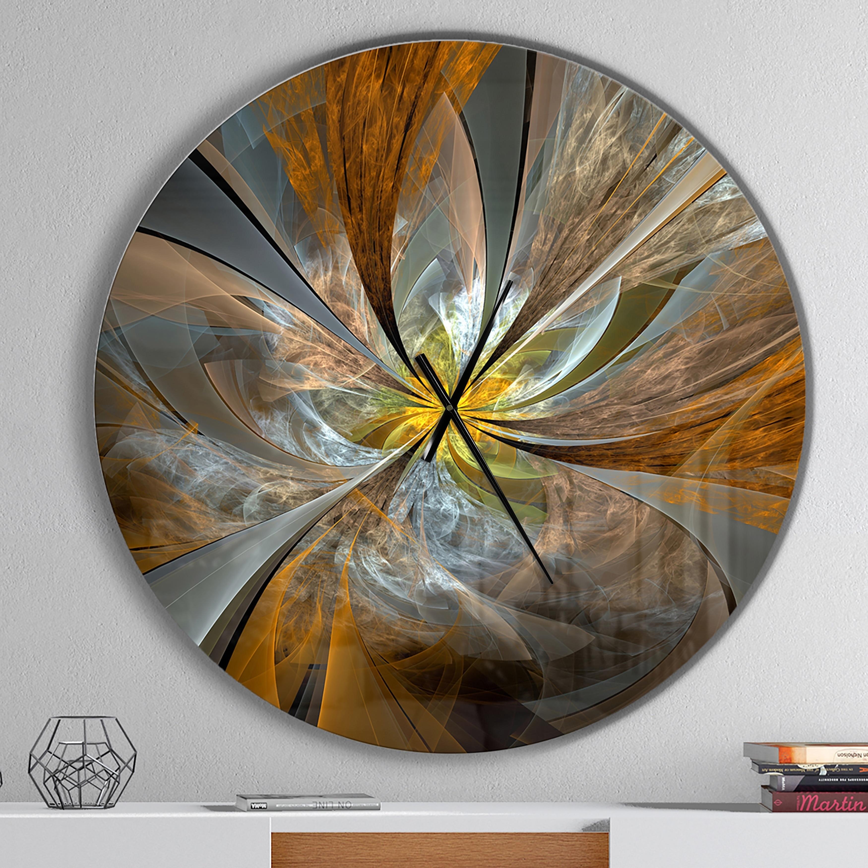 . Designart  Symmetrical Yellow Fractal Flower  Oversized Modern Wall Clock