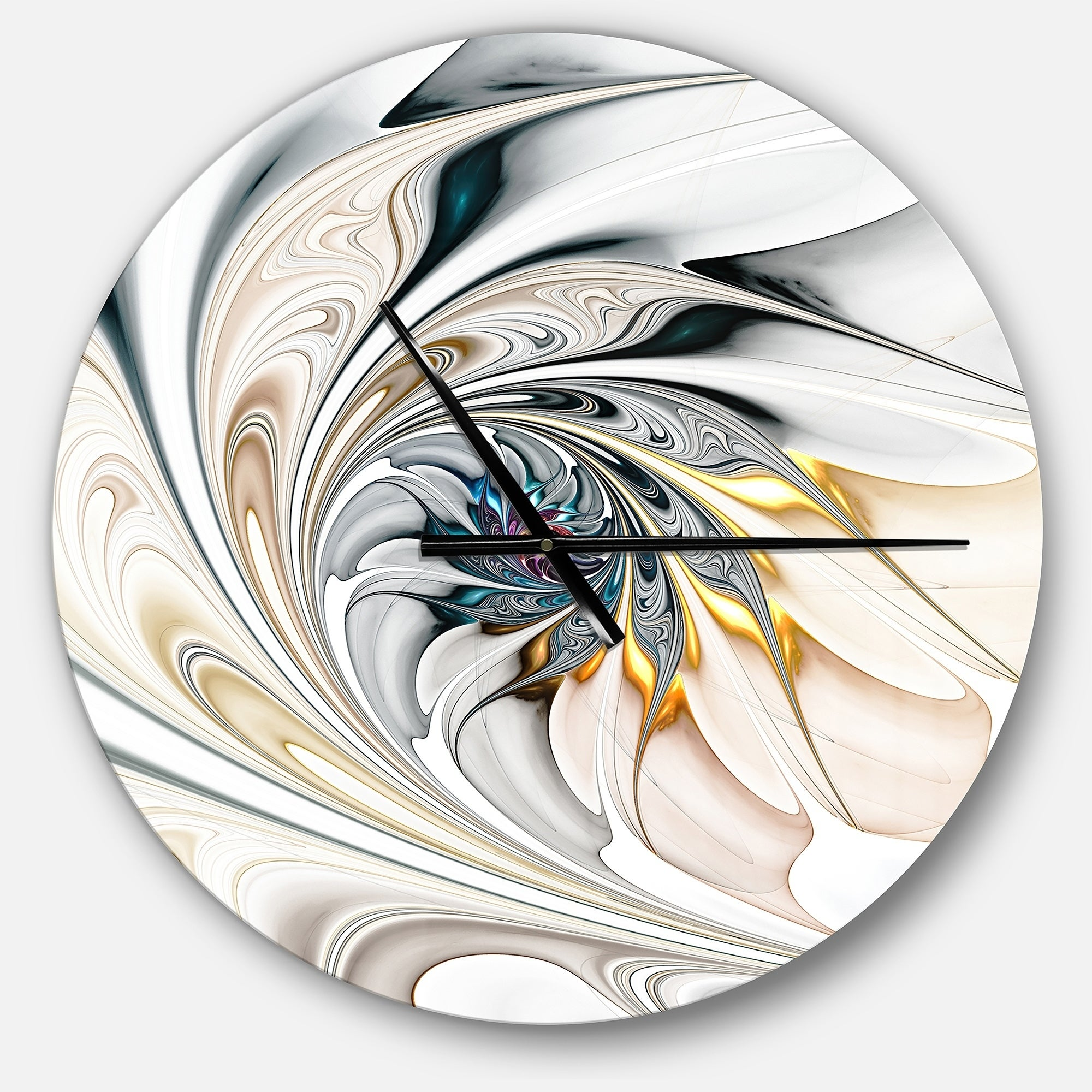 . Designart  White Stained Glass Floral Art  Oversized Modern Wall CLock