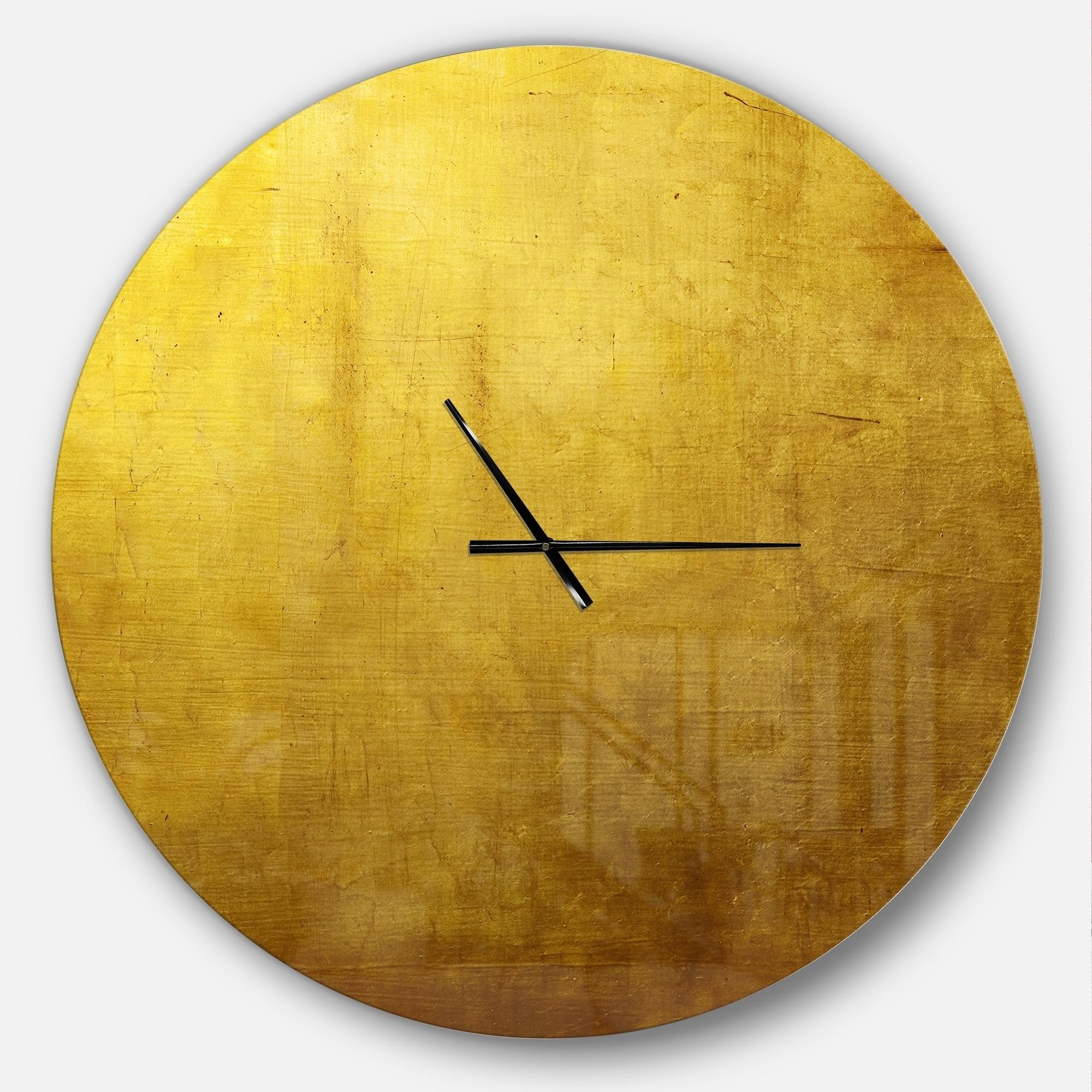 Shop Designart \'Gold Texture\' Oversized Modern Metal Clock - Free ...
