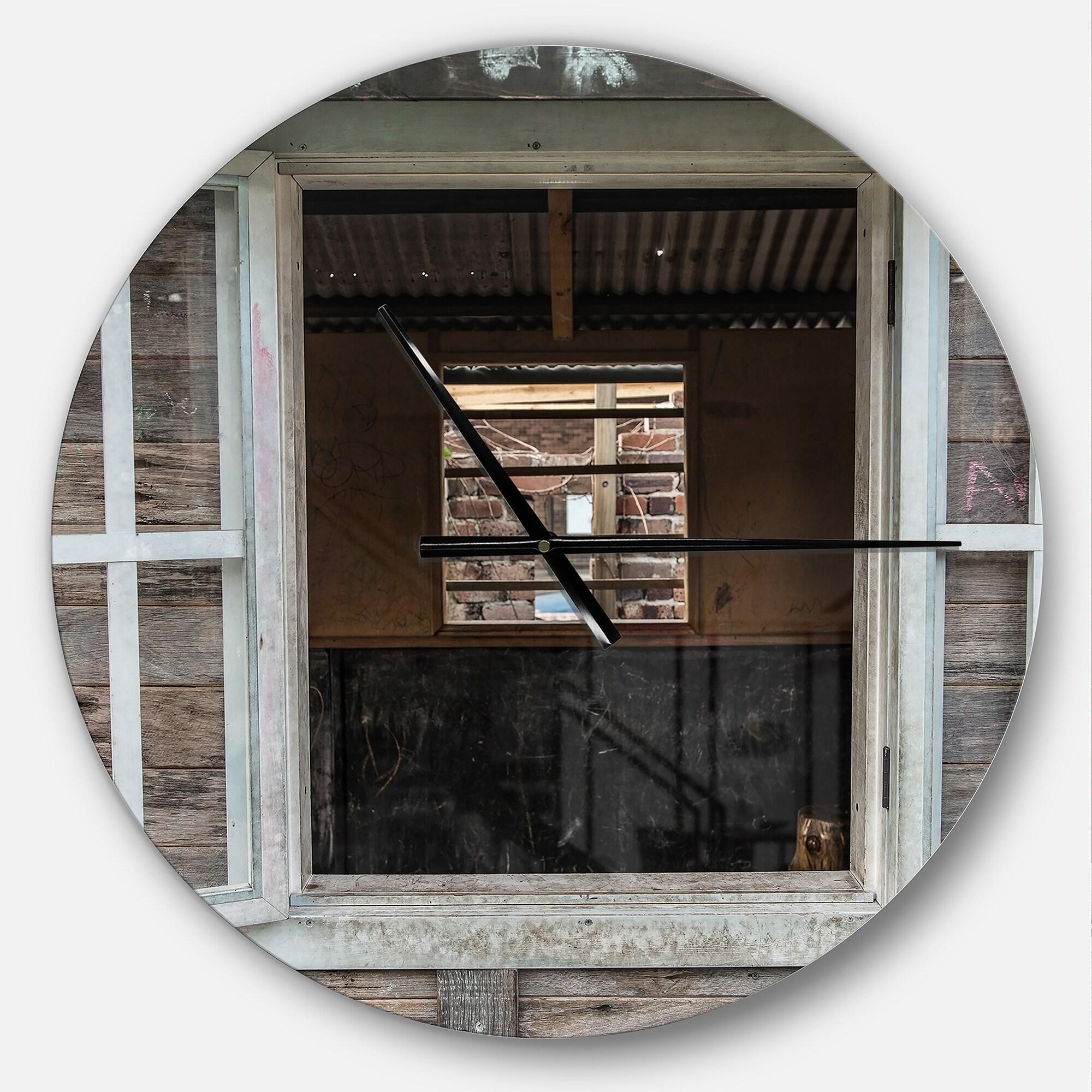 Designart Wooden Walls And Windows Oversized Farmhouse Wall Clock On Sale Overstock 23534834