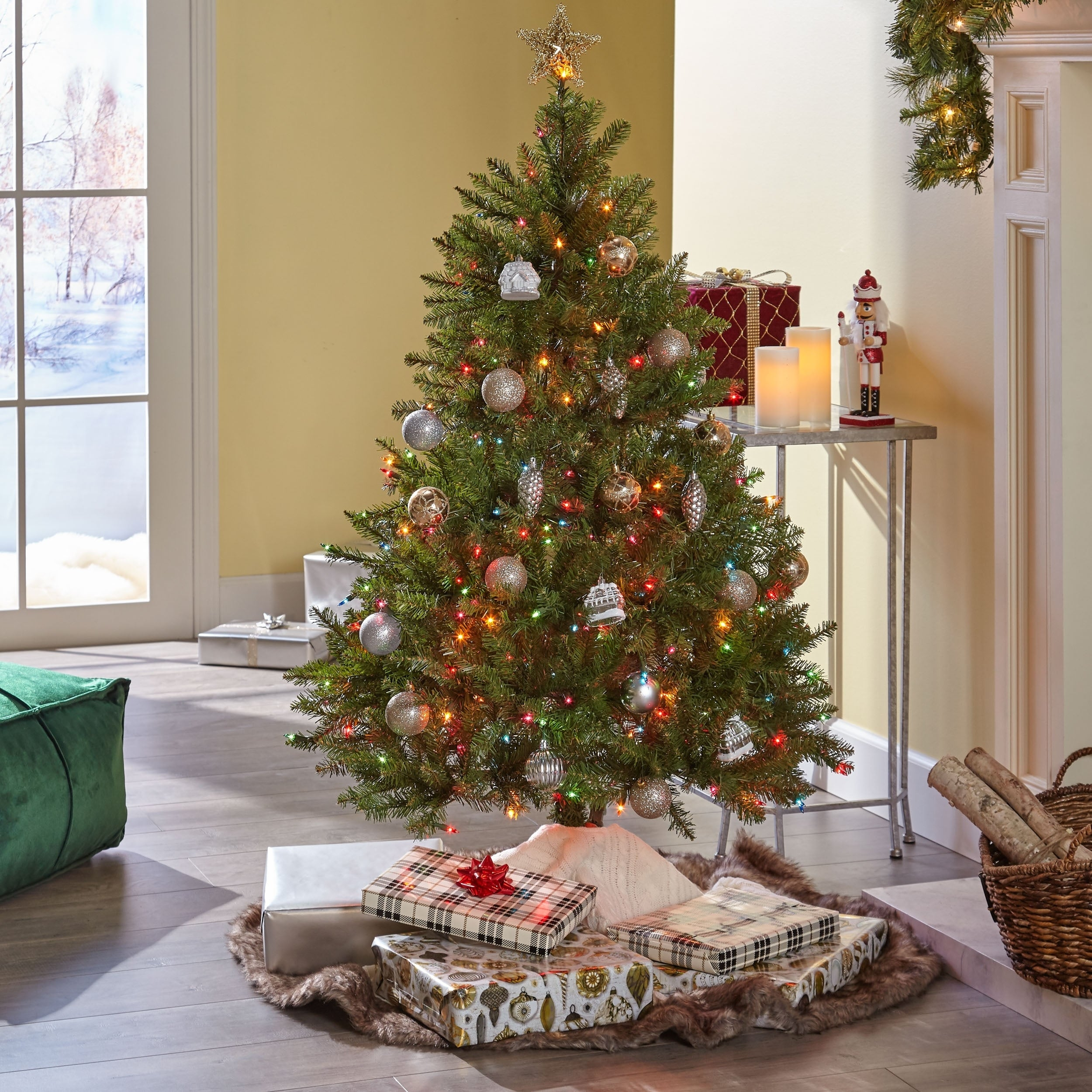 Noble Fir Christmas Tree.4 5 Ft Noble Fir Pre Lit Or Unlit Hinged Artificial Christmas Tree By Christopher Knight Home