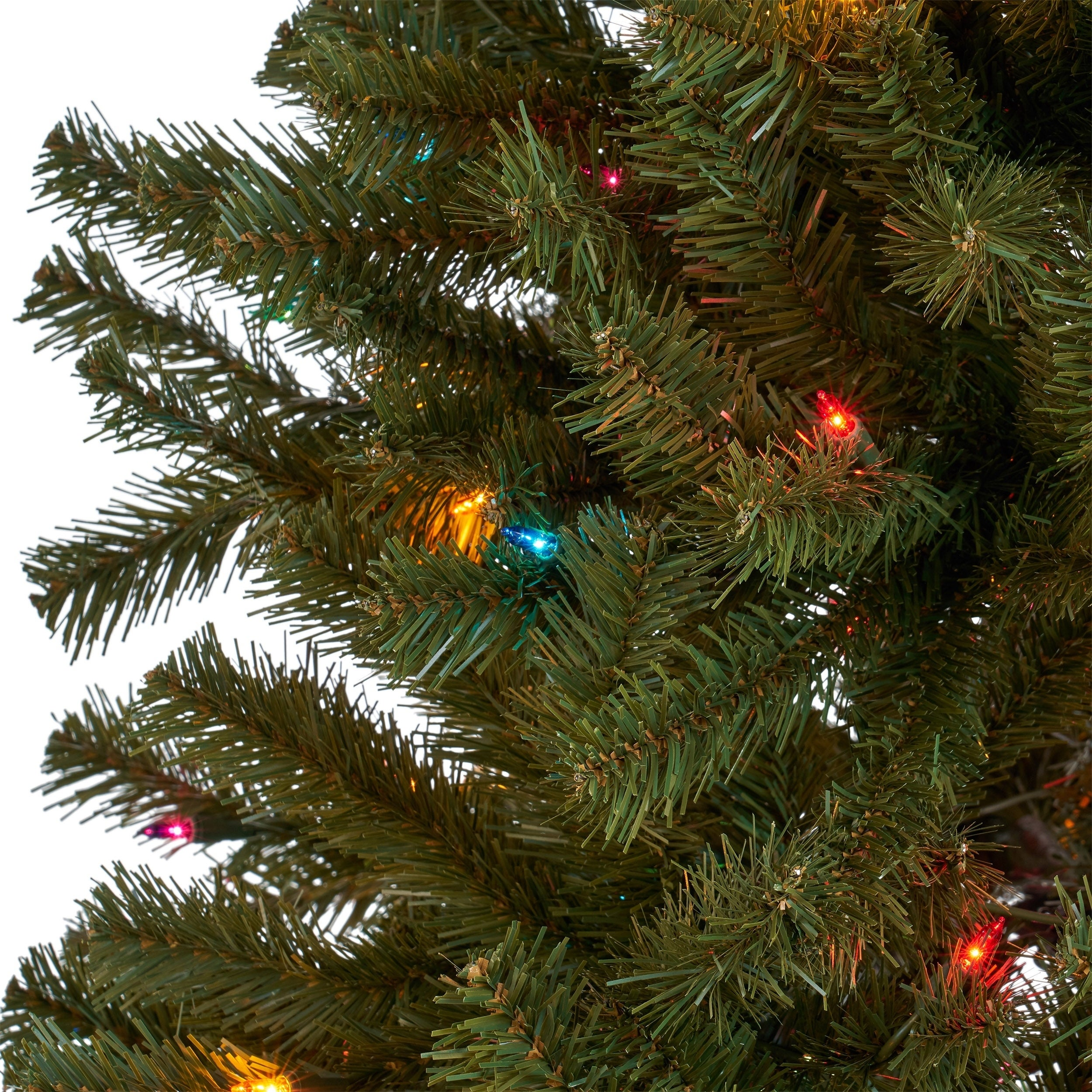 Shop 7-foot Noble Fir Pre-Lit or Unlit Hinged Artificial Christmas ...