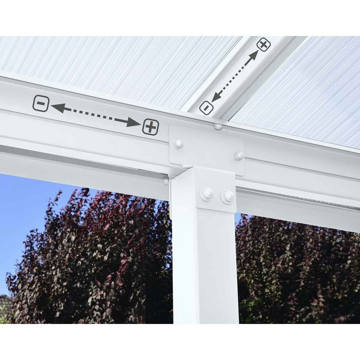 Palram Olympia 10' x 30' Patio Cover with Twin Wall Roof Panel and Aluminum  Frame - White