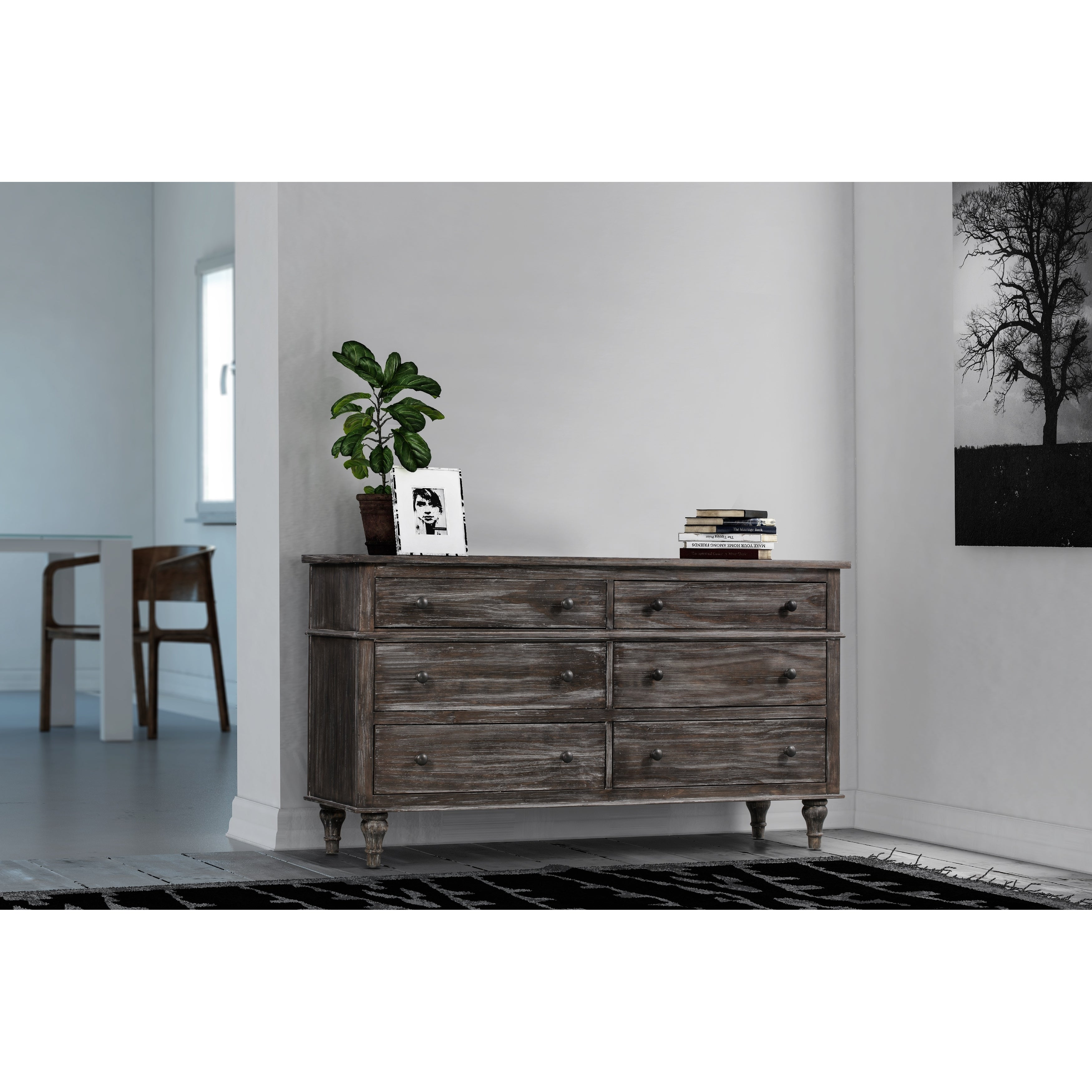 Shop valles distressed charcoal 6 drawer dresser free shipping today overstock com 23539961