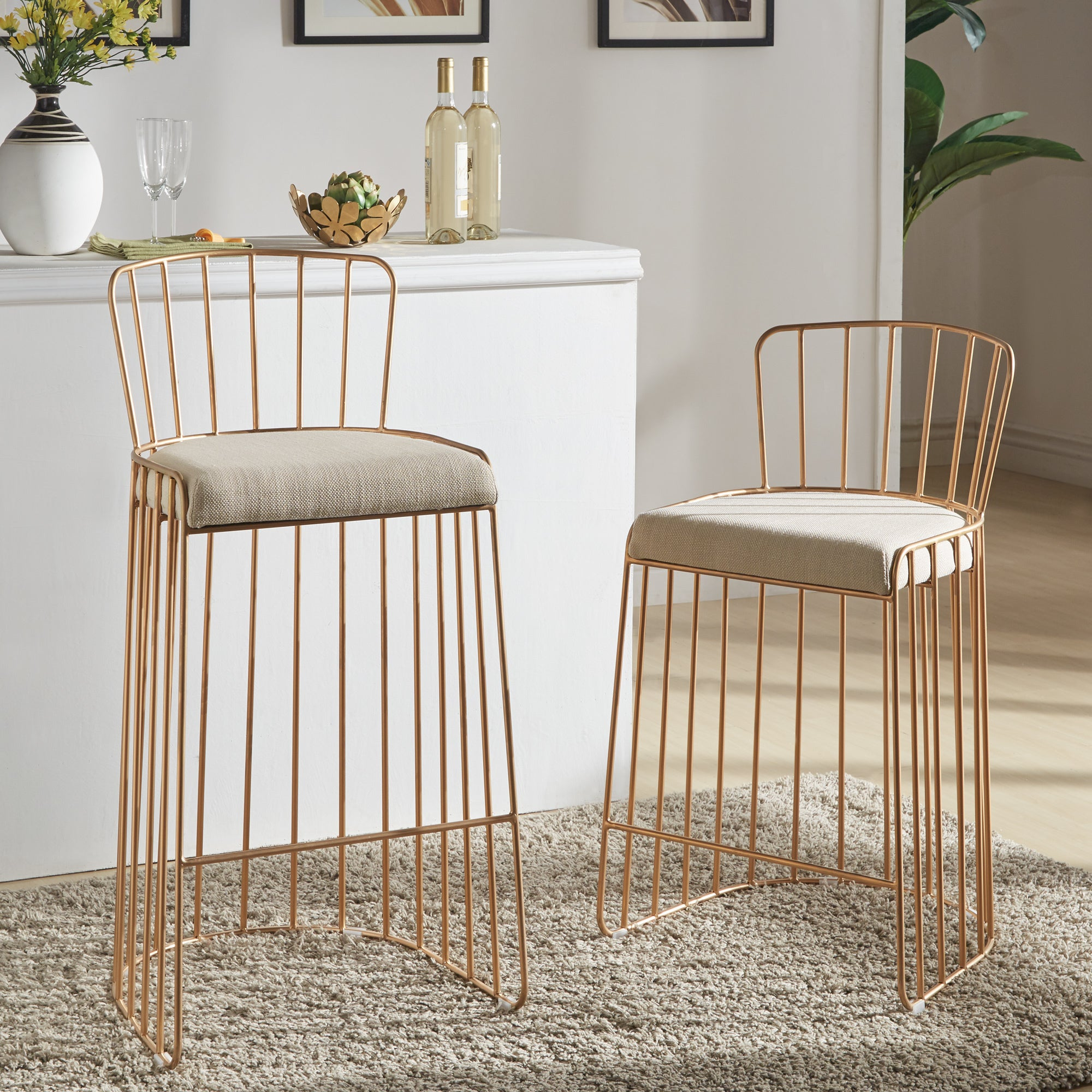 Matisha upholstered gold finish metal barstool by inspire q bold