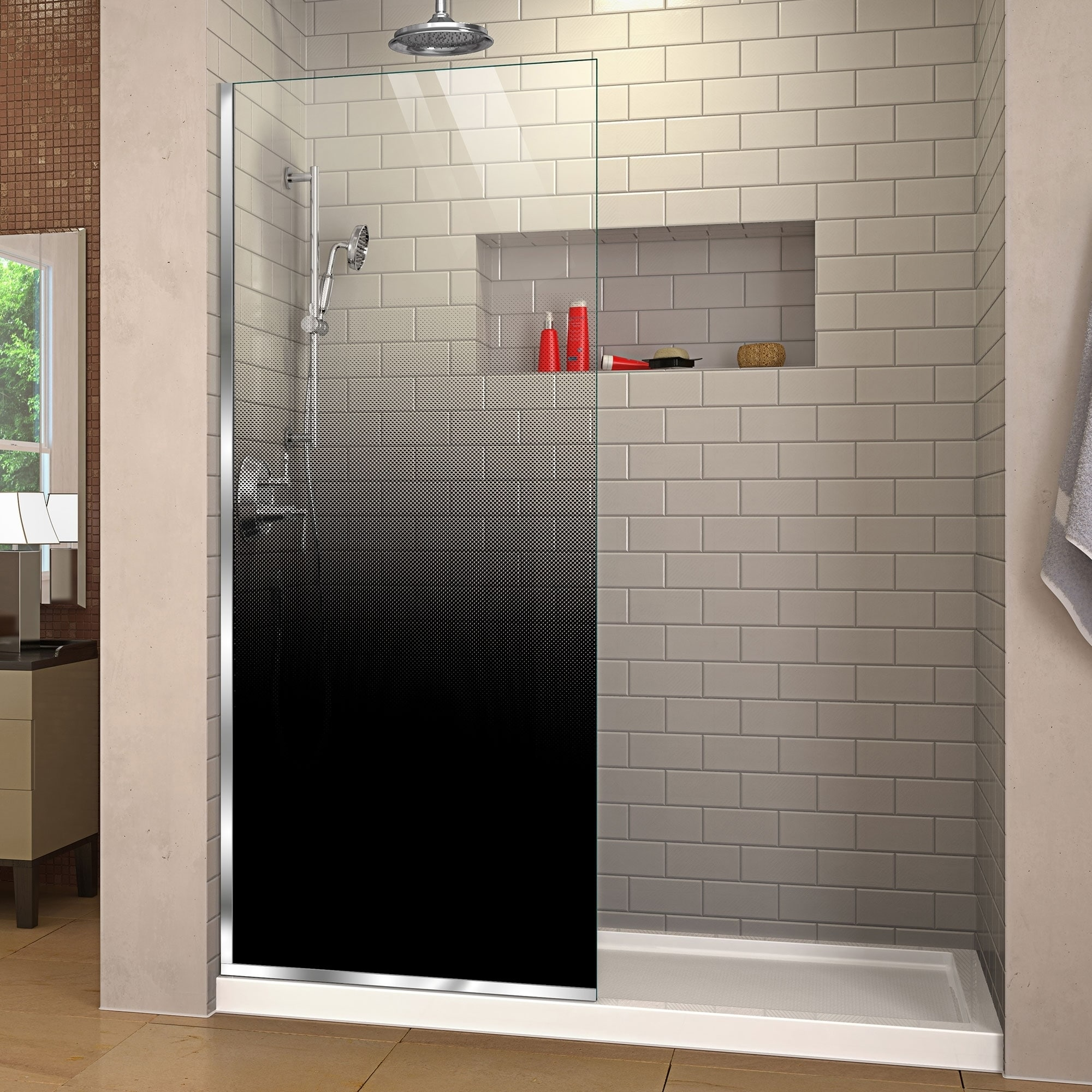 Shop Dreamline Linea Ombre Single Panel Frameless Shower Door Open