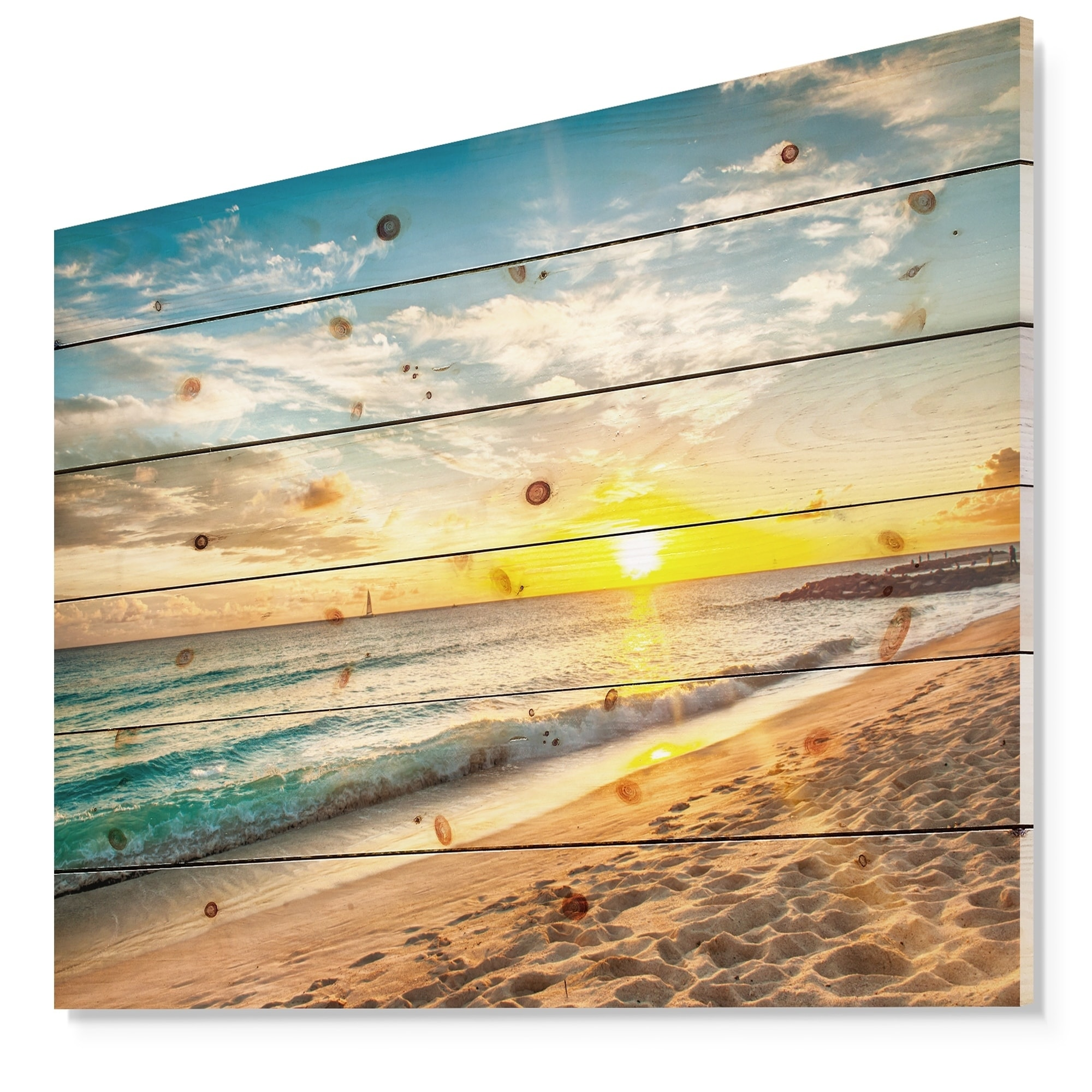 7cae37cd71 Shop Designart 'White Beach in Island of Barbados' Modern Seascape Print on  Natural Pine Wood - White - On Sale - Free Shipping Today - Overstock -  23551738