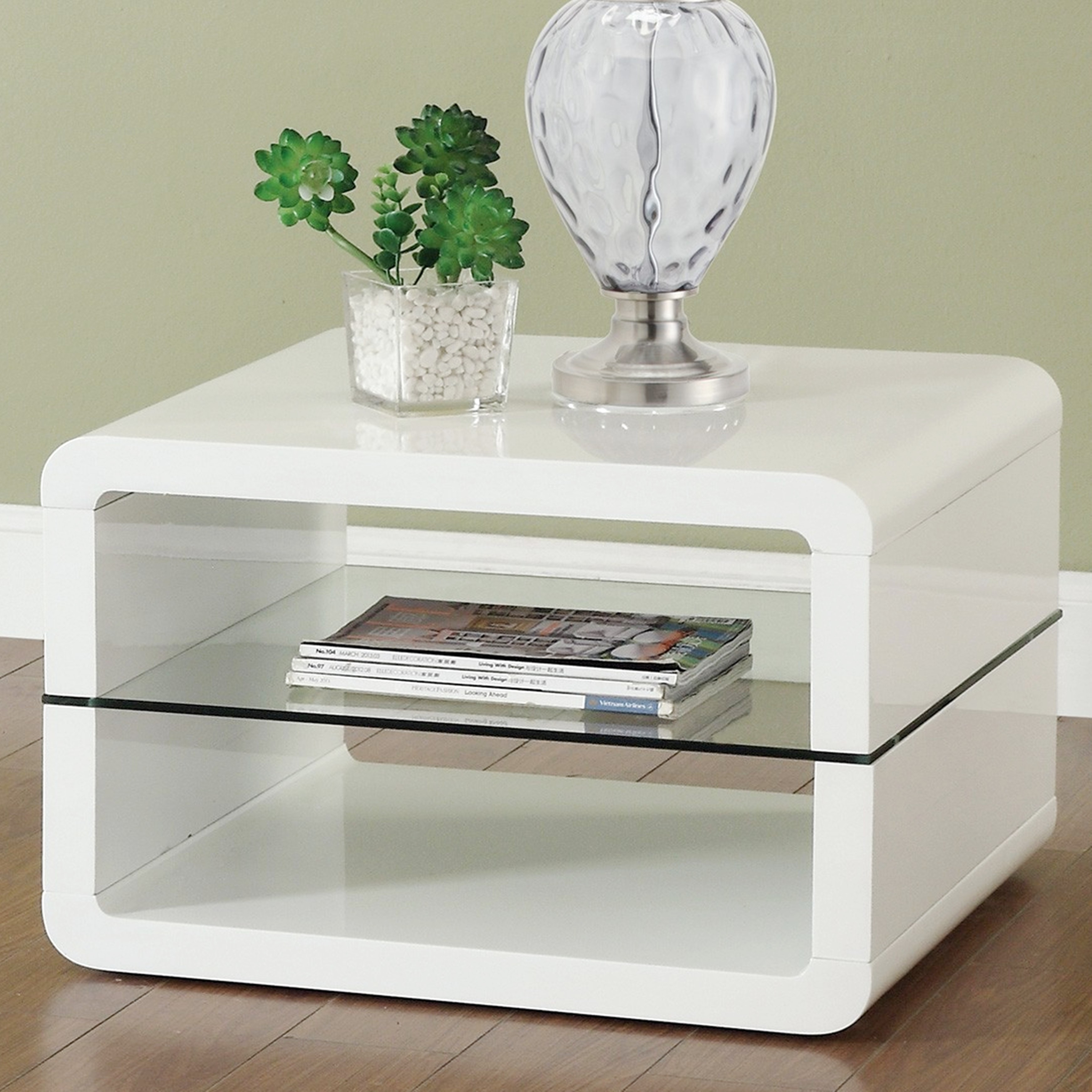 Shop modern cube design living room accent table collection with glass shelf free shipping today overstock com 23552565