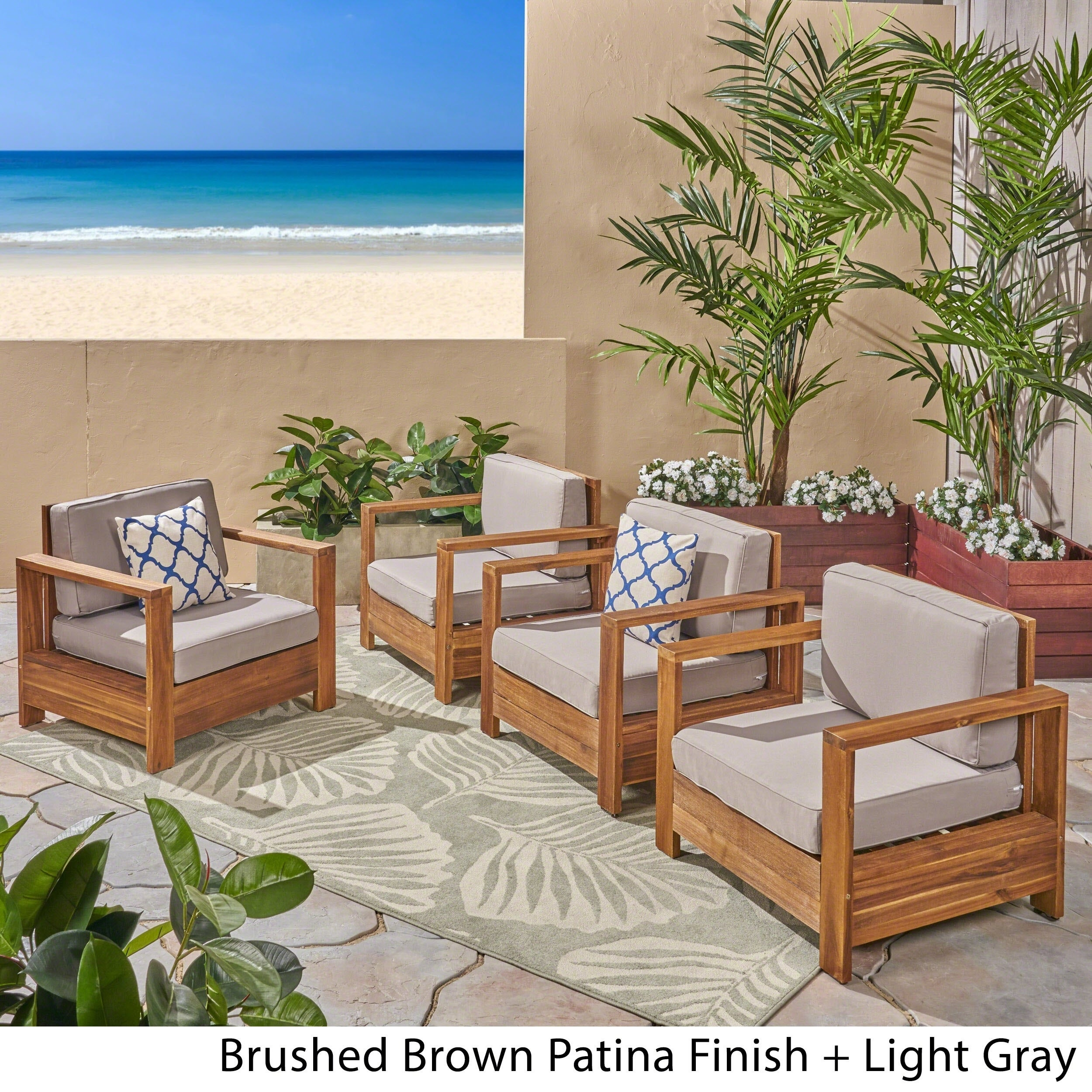 Shop Devon Outdoor Acacia Wood Club Chairs (Set of 4) by Christopher ...