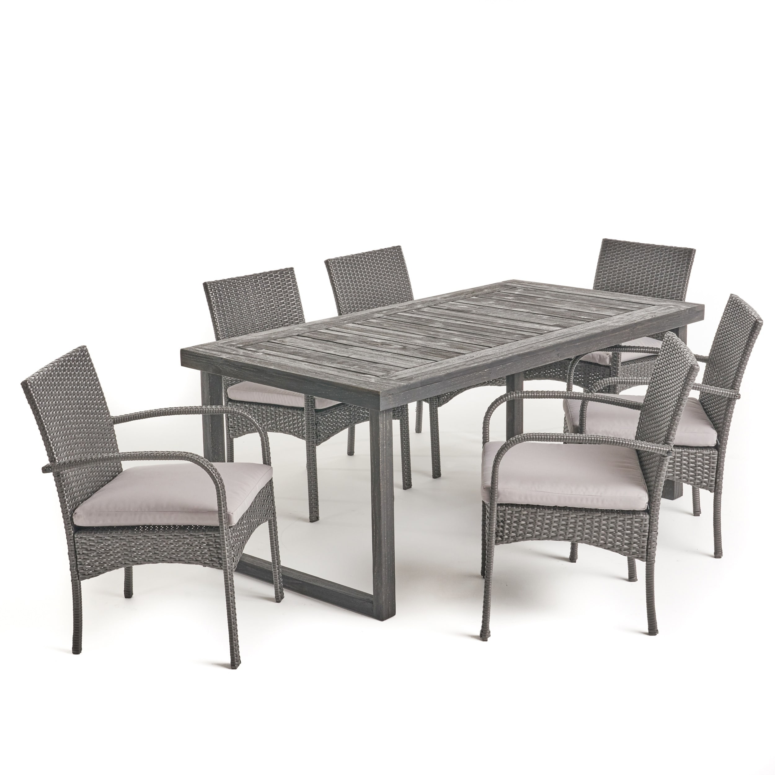 Shop stillwater outdoor 6 seater acacia wood dining set with wicker chairs by christopher knight home free shipping today overstock com 23553123