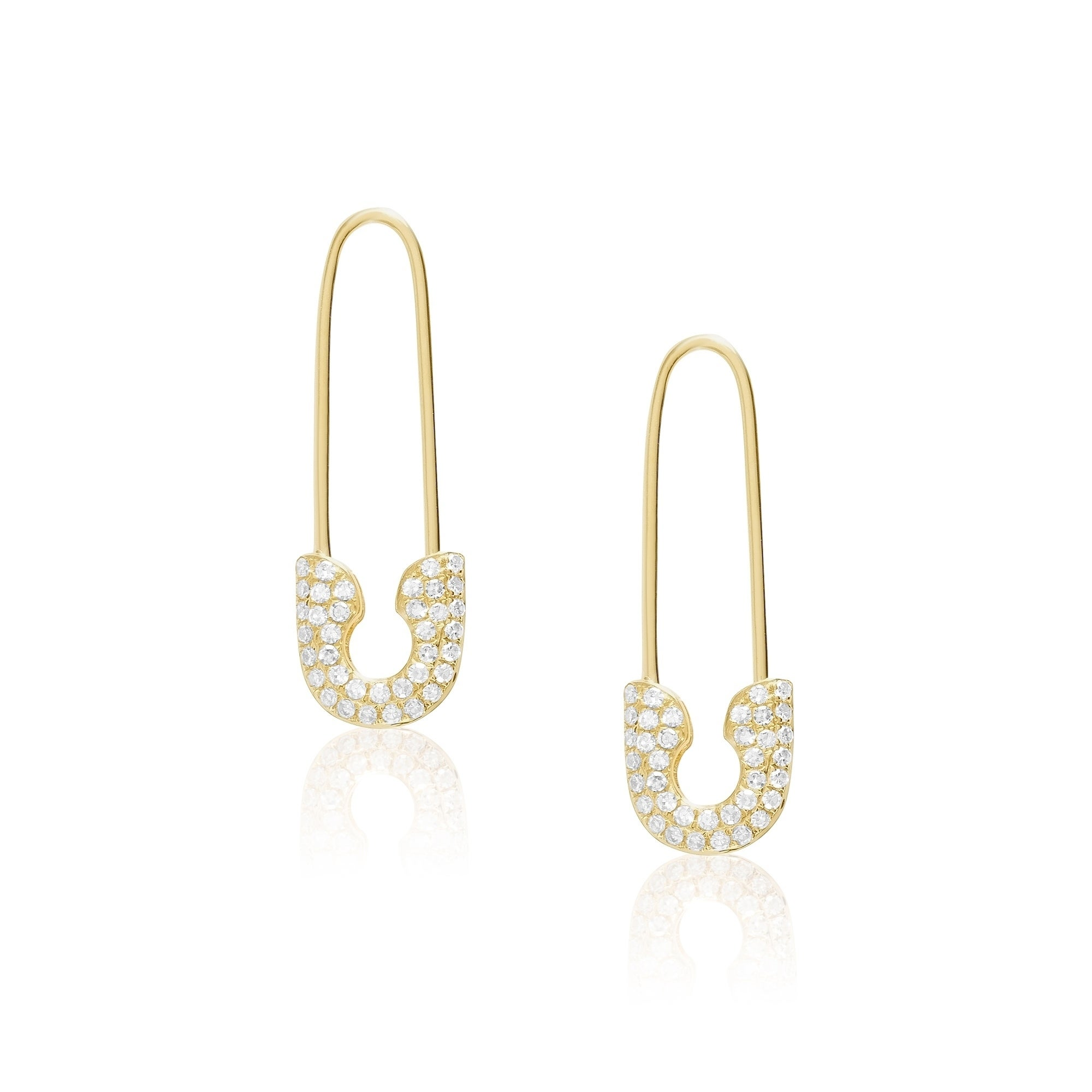 1d01f0e3c83 Shop 14KT Gold and Diamond Safety Pin Fashion Earring - Free Shipping Today  - Overstock - 23553826