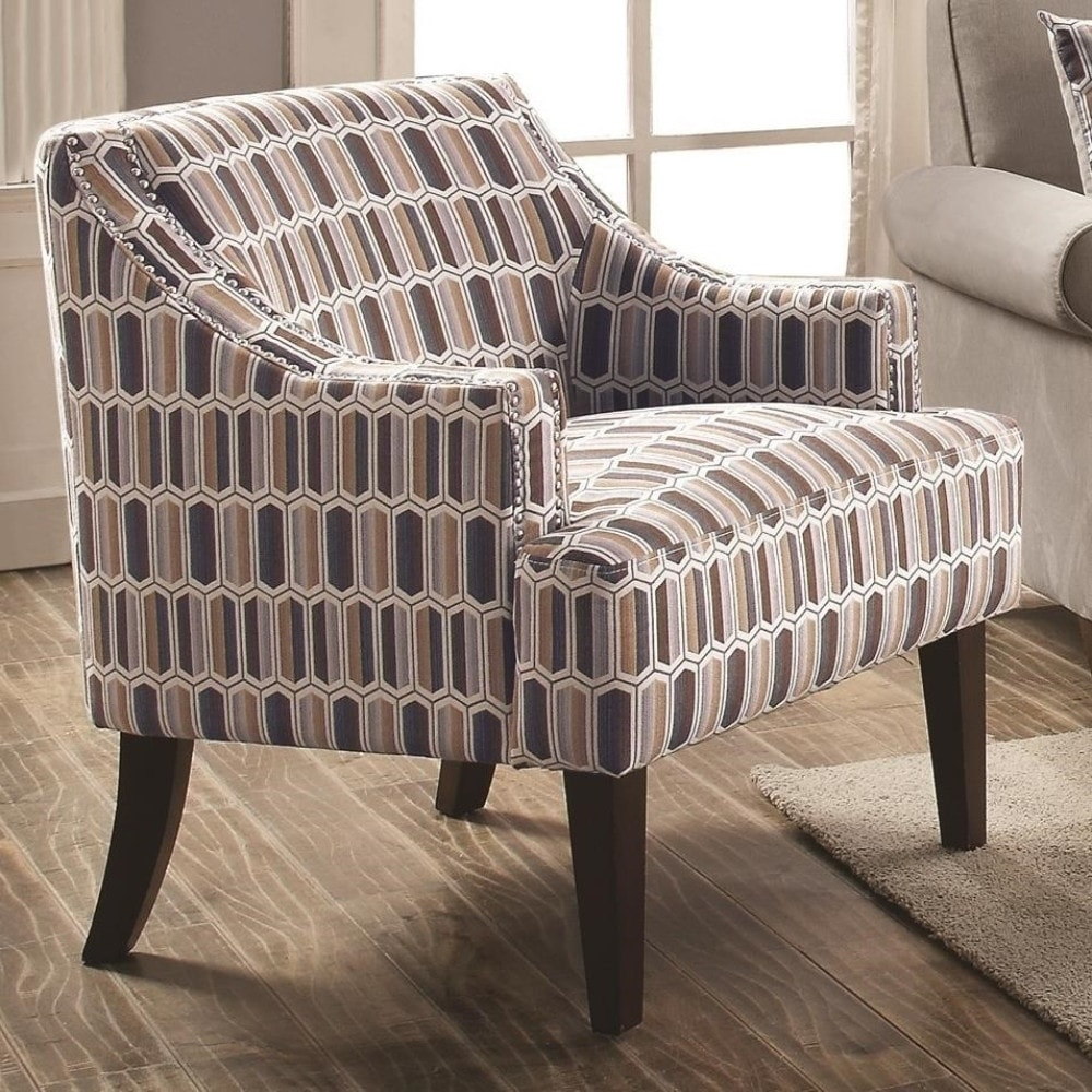 Shop transitional jacquard fabric wood accent chair with cushioned seat multicolor on sale free shipping today overstock com 23553943